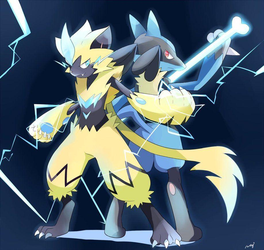 Zeraora and Lucario! by desrie3 on DeviantArt
