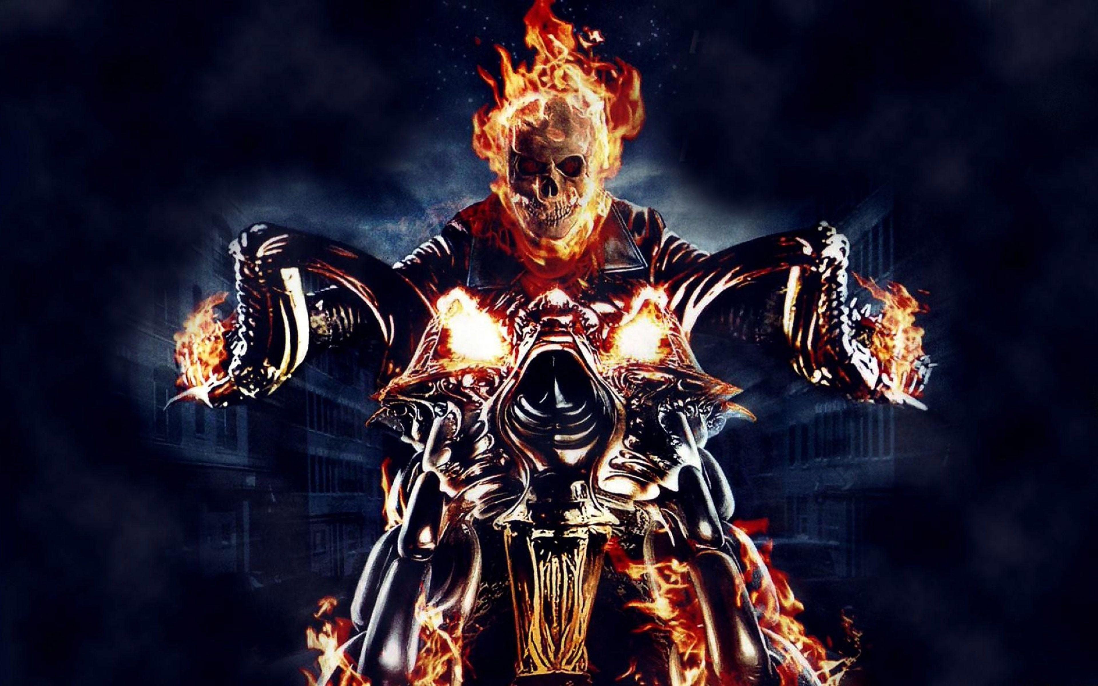 Ghost Rider Motorcycle Fire Skull Skeleton Wallpapers