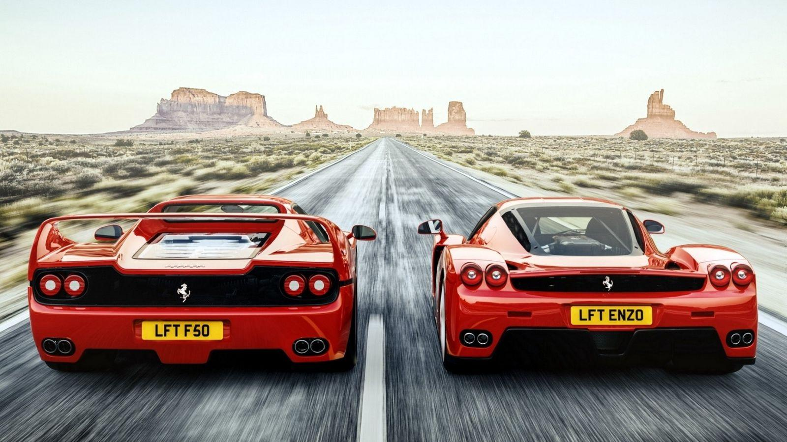 Download wallpapers 1600x900 ferrari, f50, enzo, rear view, speed
