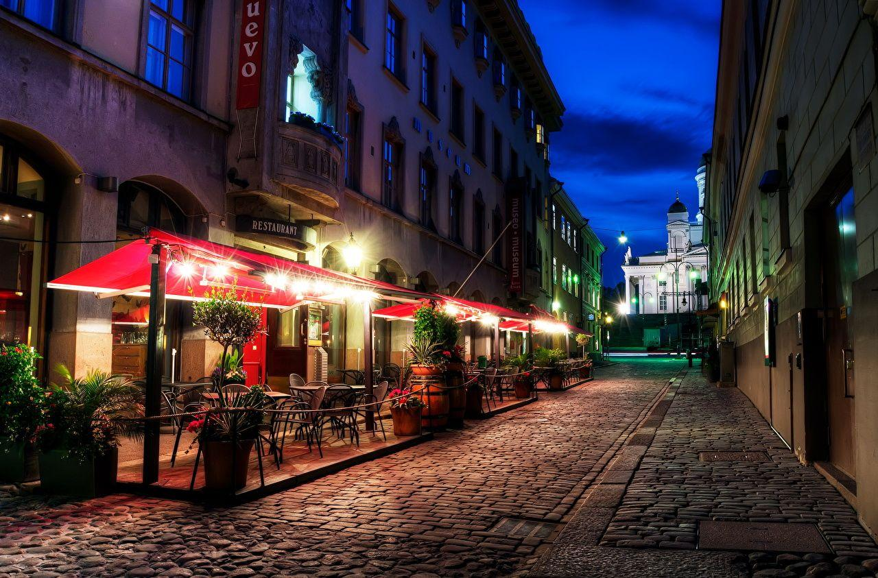 Wallpapers Helsinki Finland HDR Night Street lights Cities