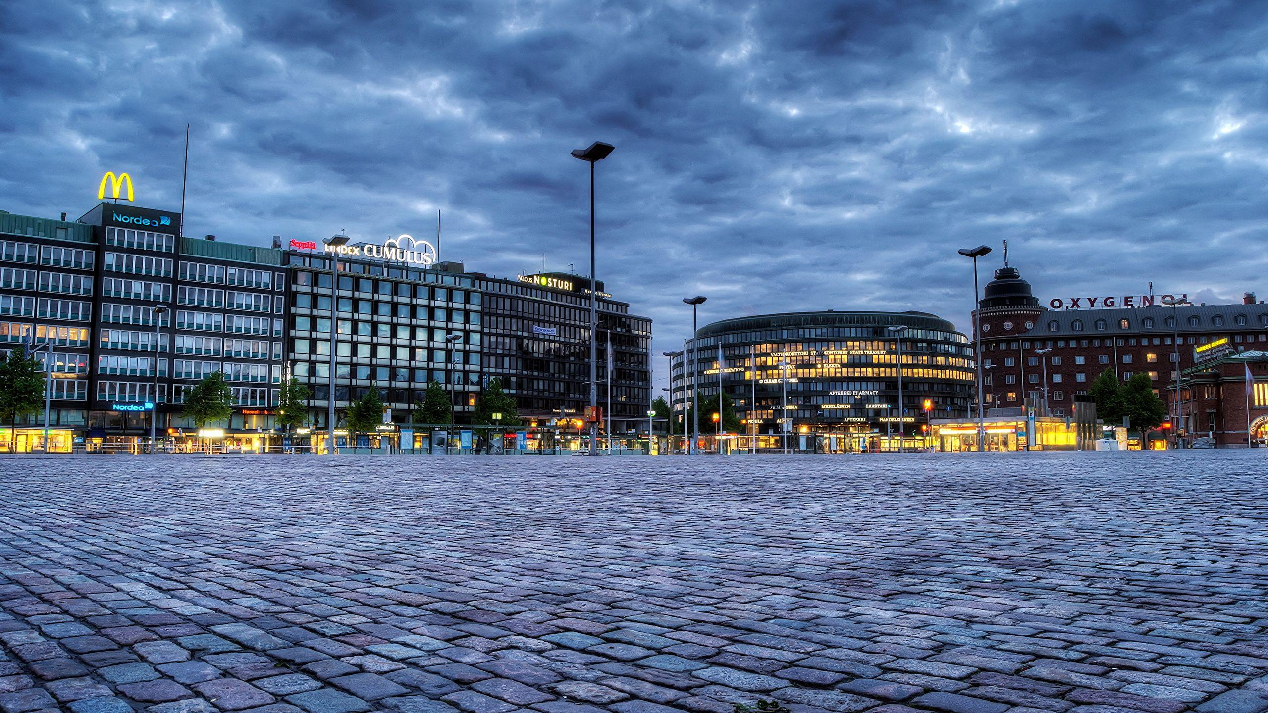 Photos Helsinki Finland HDR Sky Street lights Cities 2560x1440