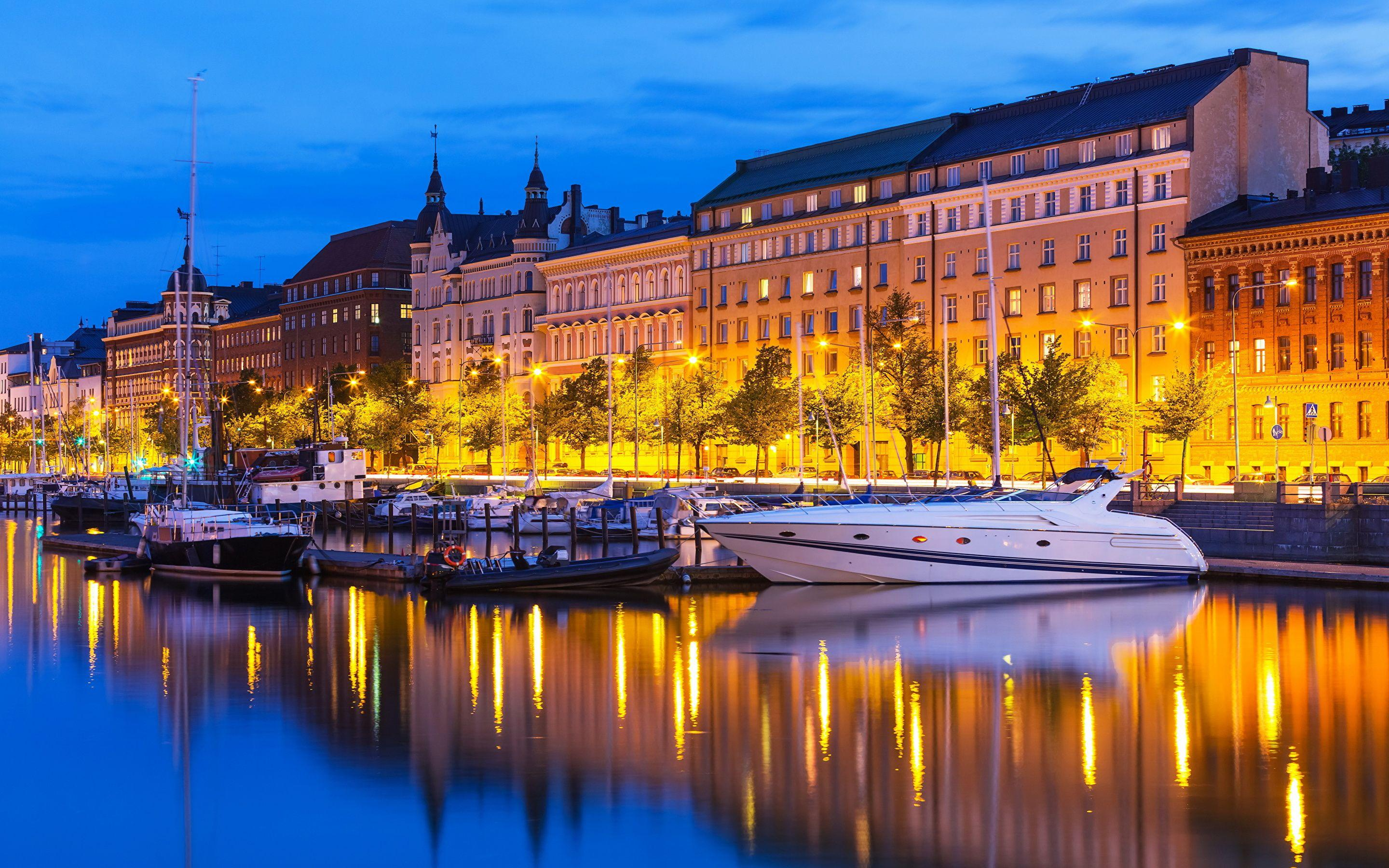 Wallpapers Helsinki Finland Yacht Rivers night time Cities 2880x1800