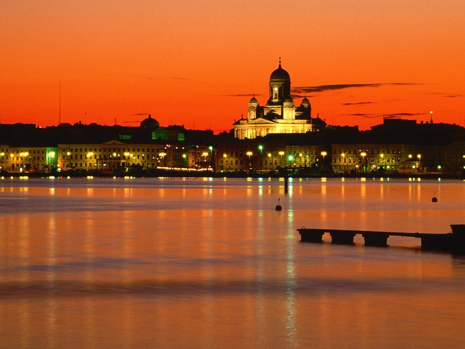 Nature orange Finland evening Helsinki wallpapers