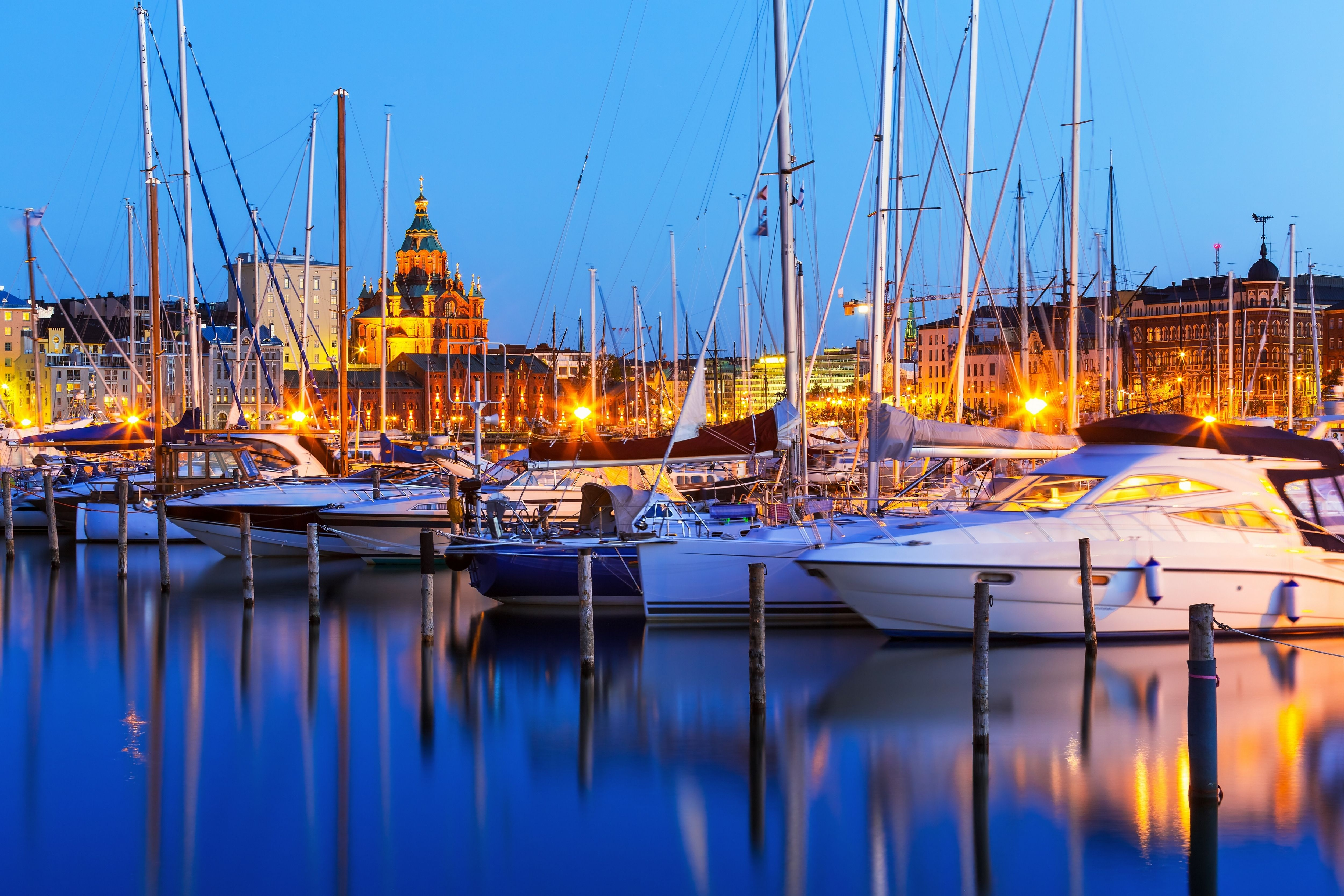 Wallpapers Night city, port, yachts, Finland, Helsinki, harbor, river