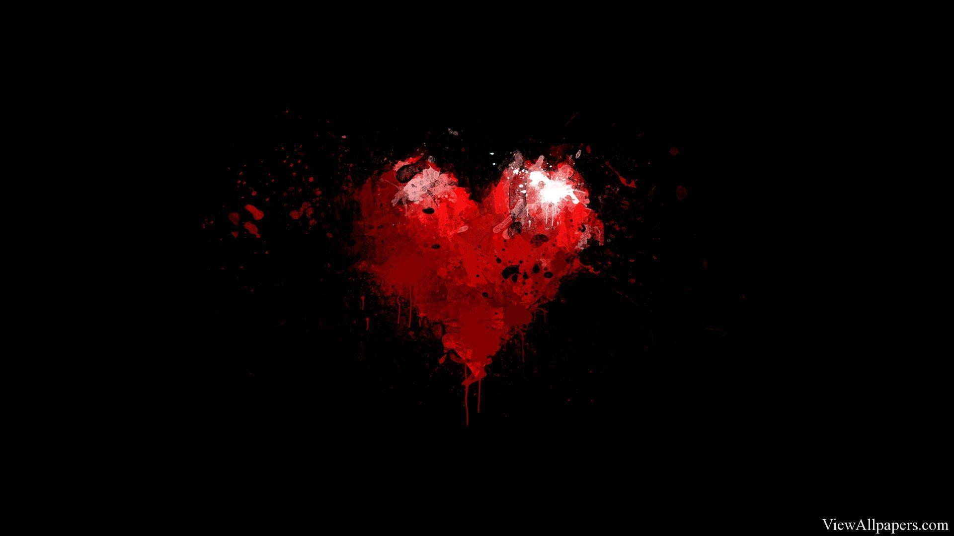 Painted Red Heart on Black Backgrounds Wallpapers