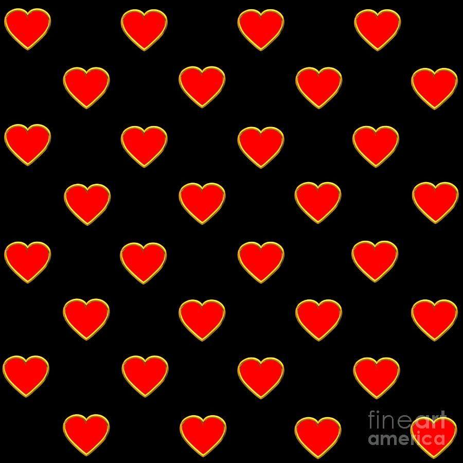 Red Hearts On A Black Backgrounds Saint Valentines Day Love And