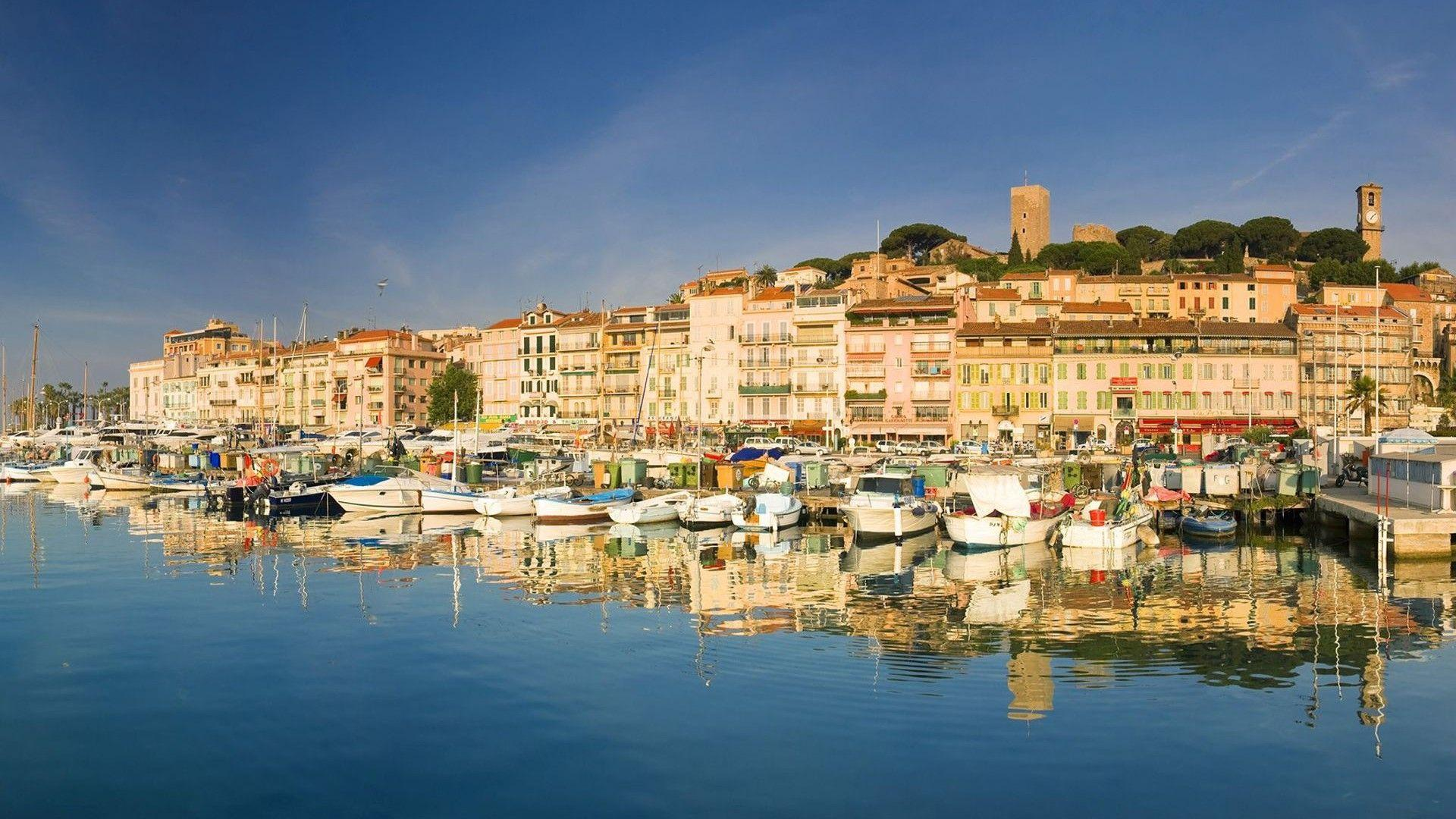 Yachts at coast in Cannes, France wallpapers and image