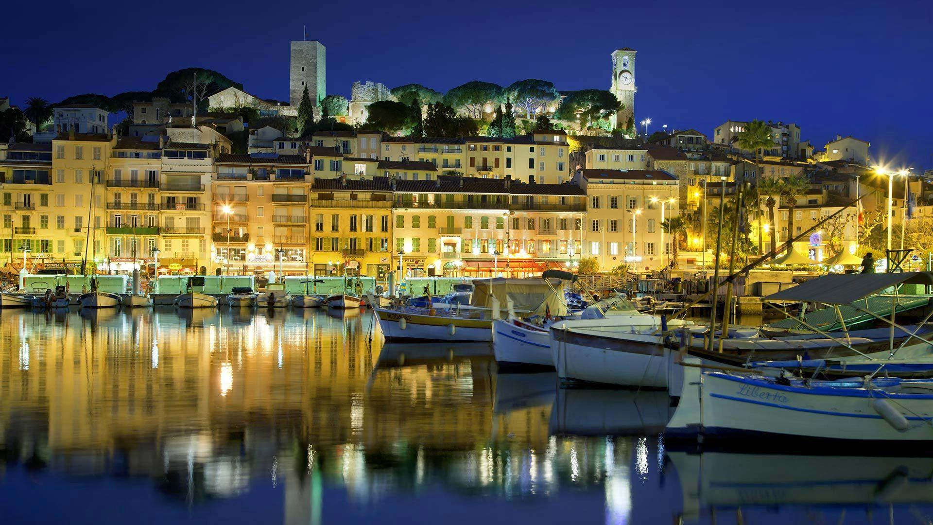 Wallpapers Alpes Maritimes, France, houses, old city, lights, Suquet