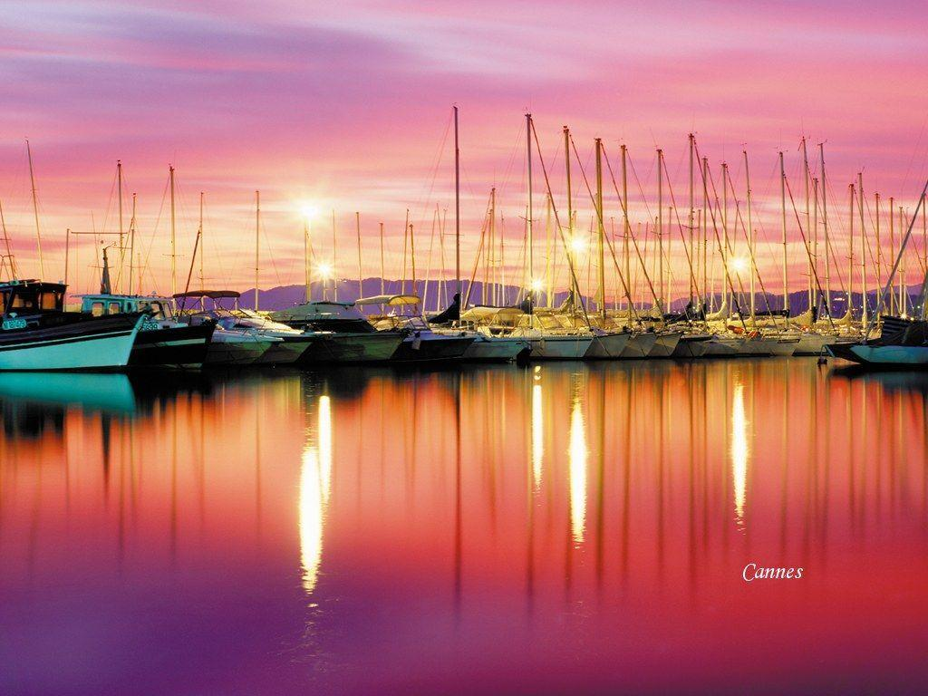 Red sunset in Cannes, French Riviera