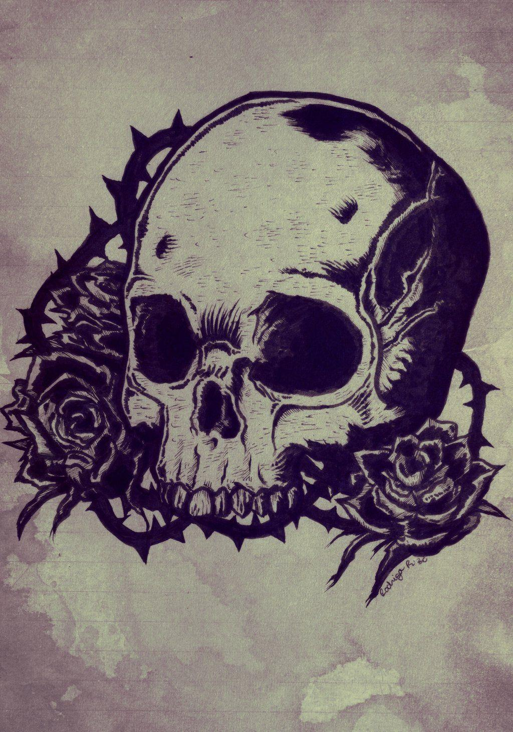 Cool Drawings Of Skulls And Roses