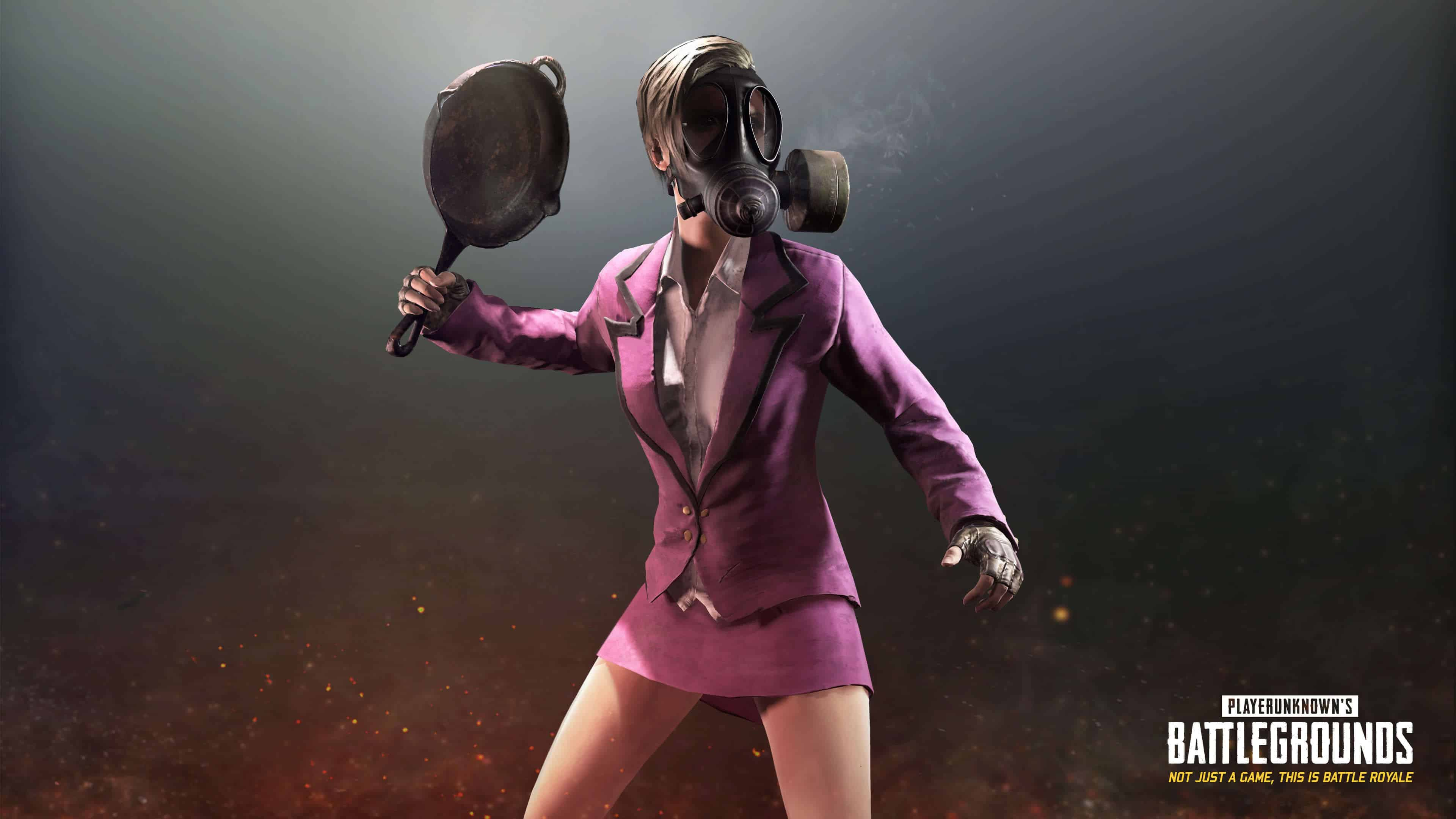PUBG Pink Skirt Tuxedo And Gas Mask UHD 4K Wallpapers