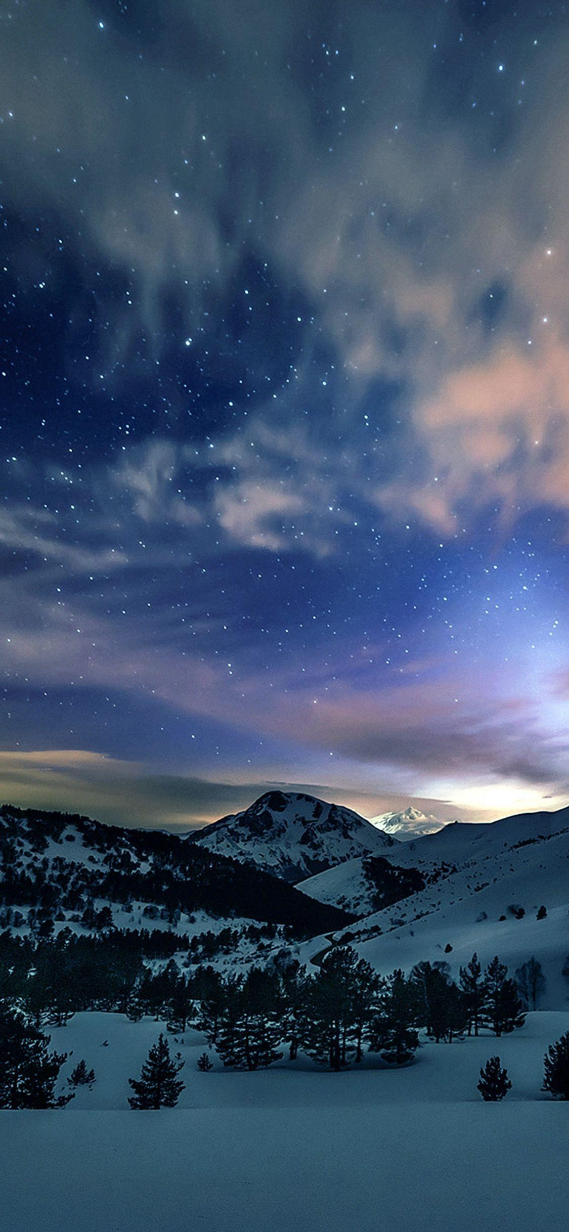 Aurora Star Sky Snow Mountain Winter Nature iPhone X wallpapers