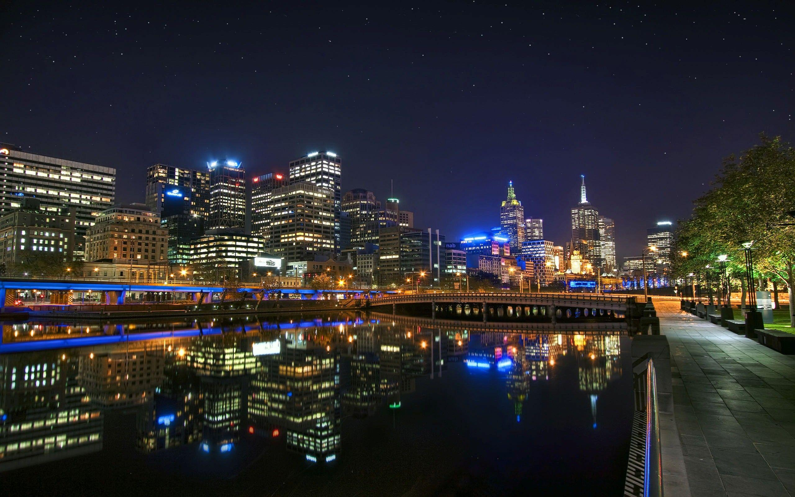 Night Look of City Melbourne in Australia HD Wallpapers