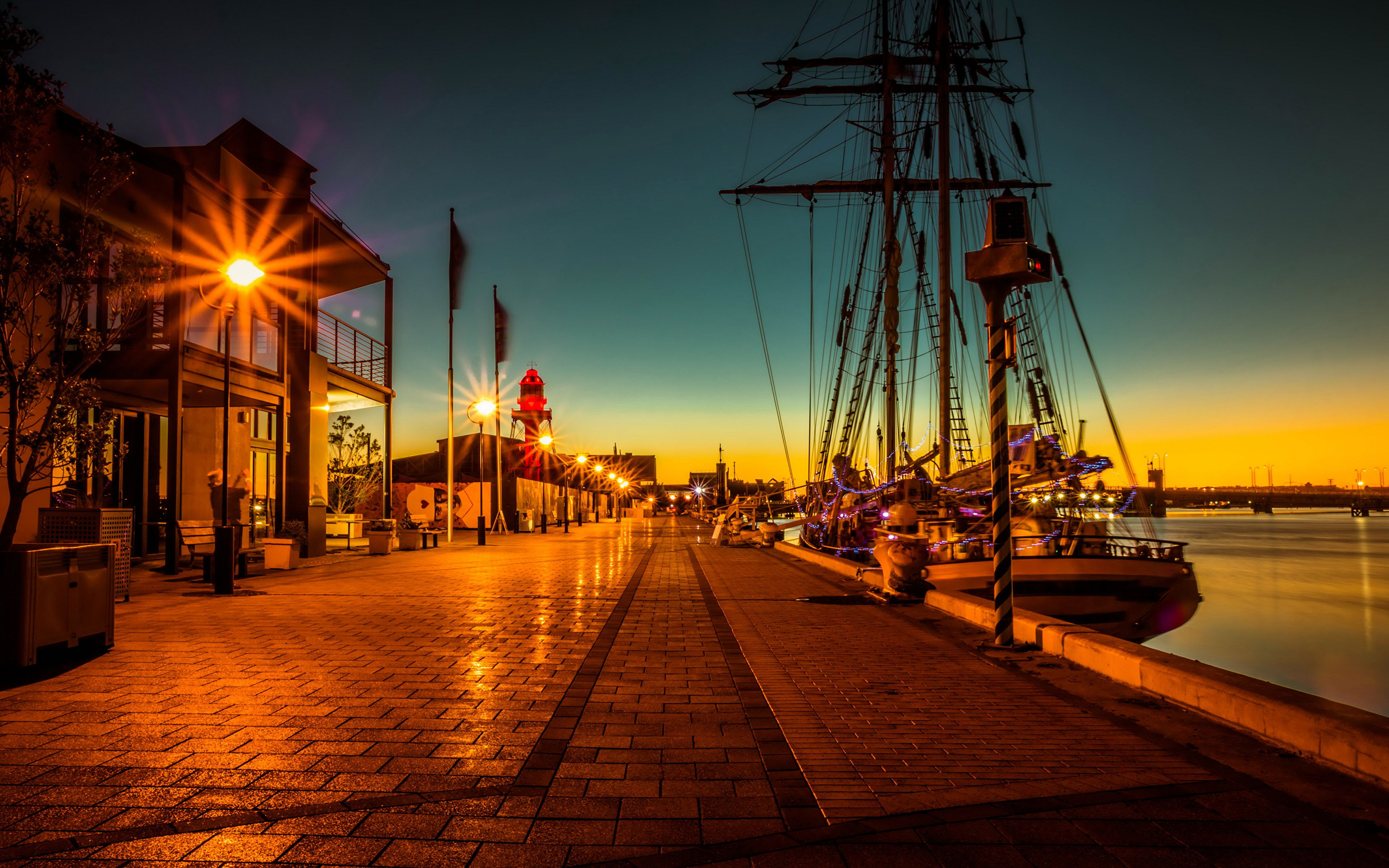 Image Australia Port Adelaide Ships Pier Night Waterfront 3840x2400