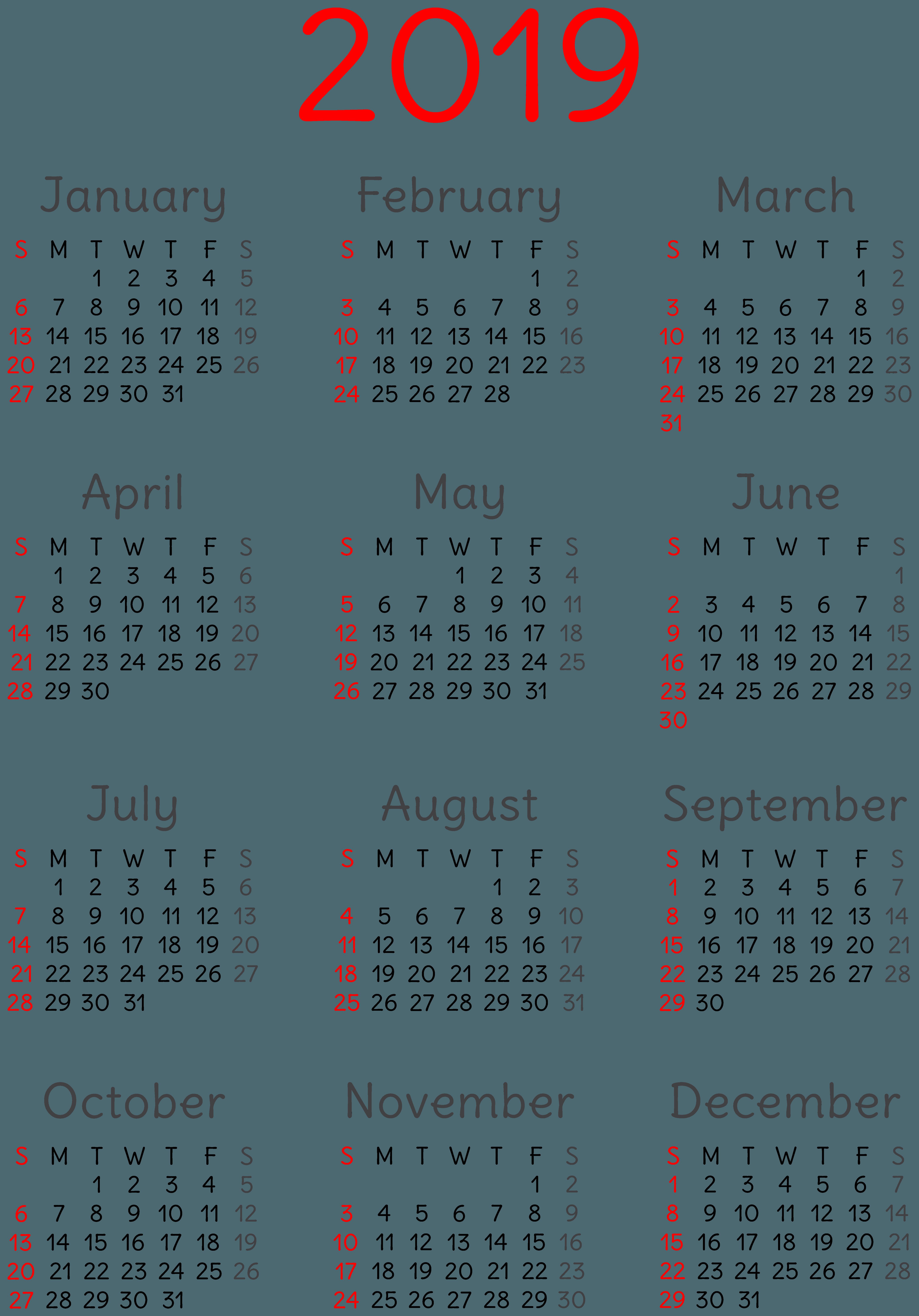 Calendar 2019 Wallpapers - Wallpaper Cave