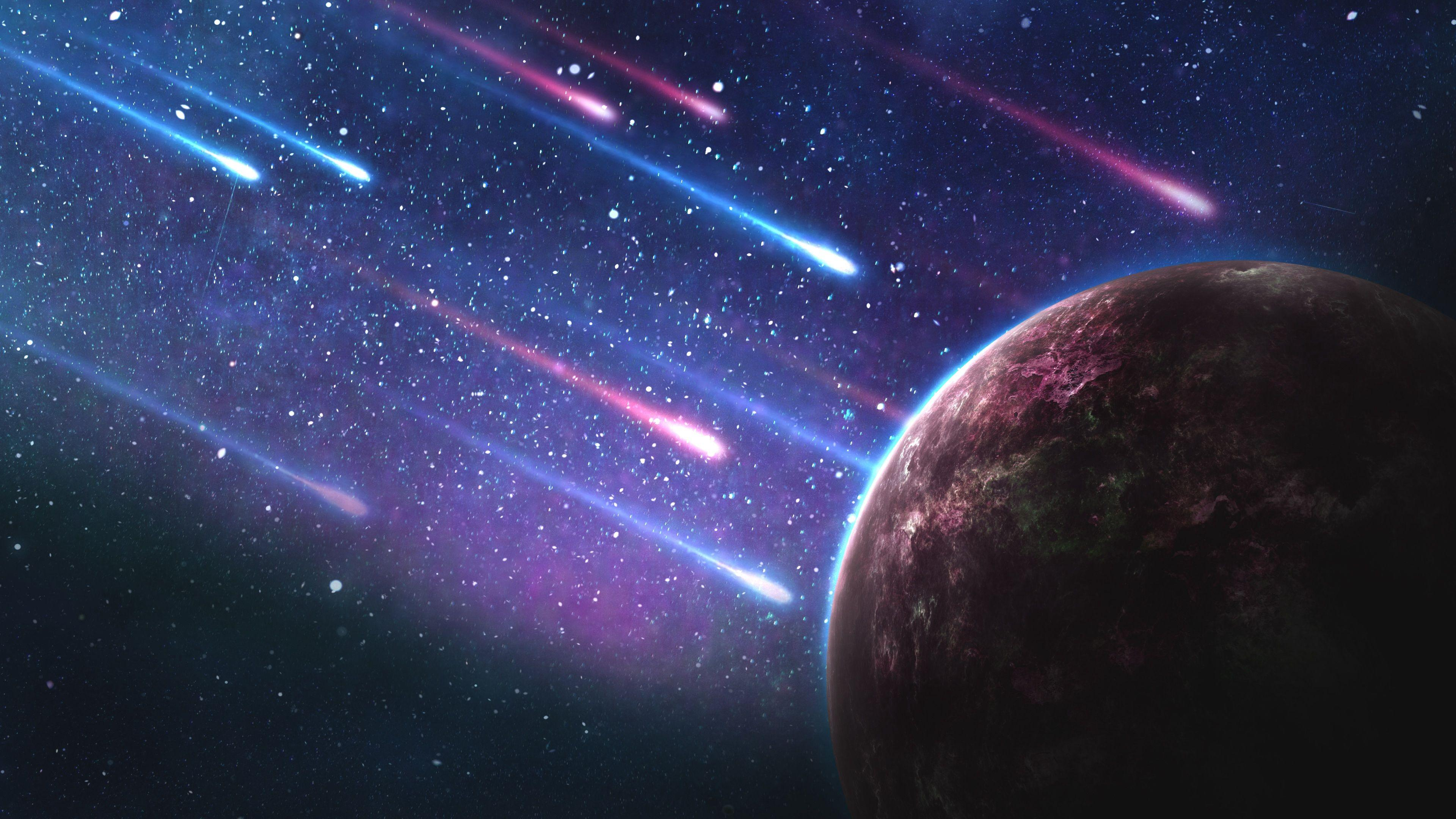 Download wallpapers 3840x2160 planet, meteorites, space, galaxy hd