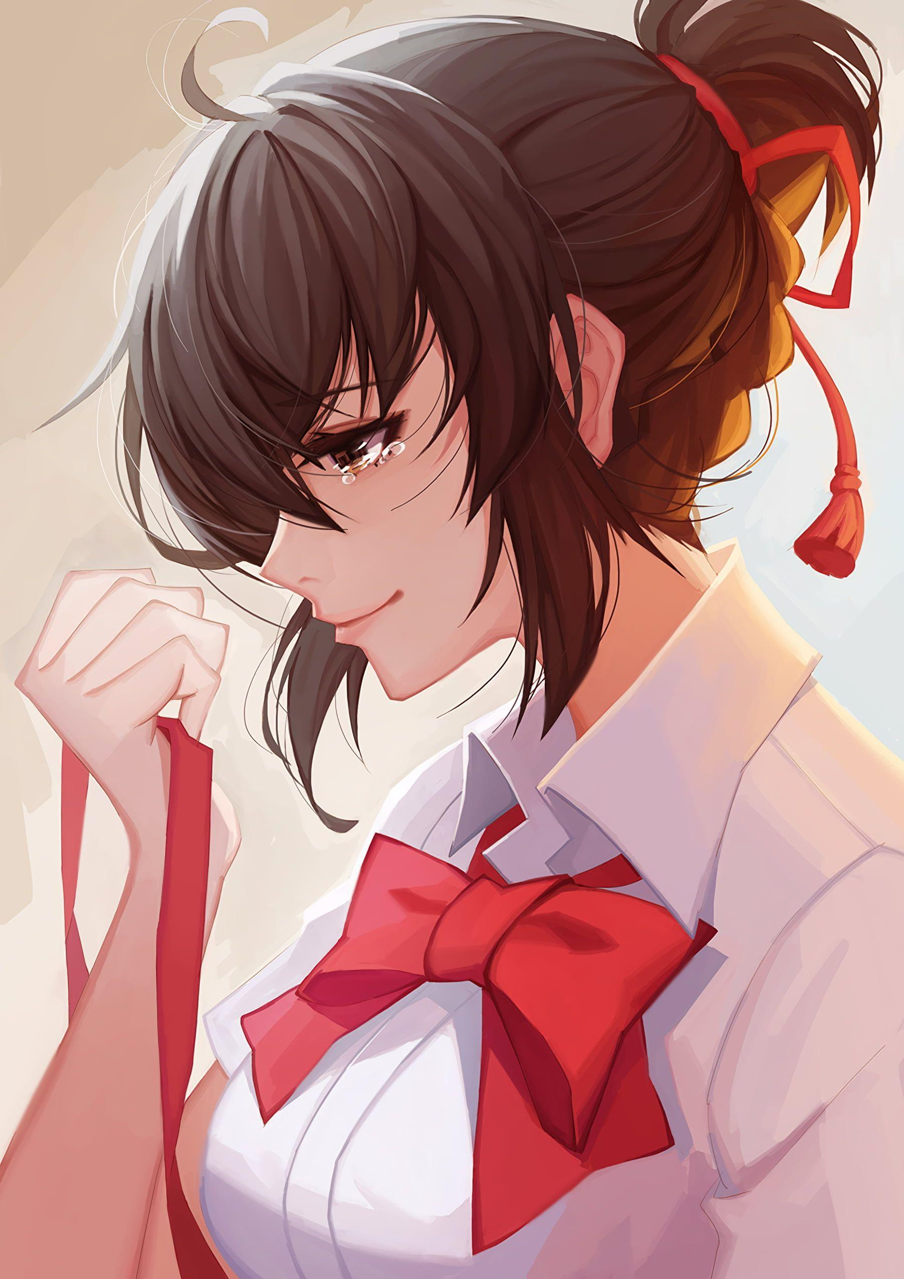 Anime woman wearing white and red top with teary eye wallpapers HD