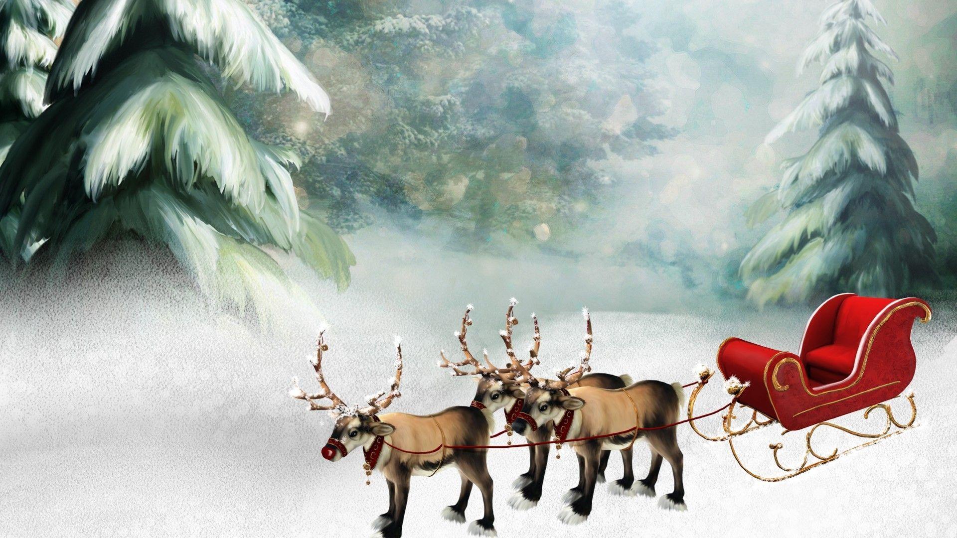 Картинки деда мороза в санях с оленями, опять работу понедельник