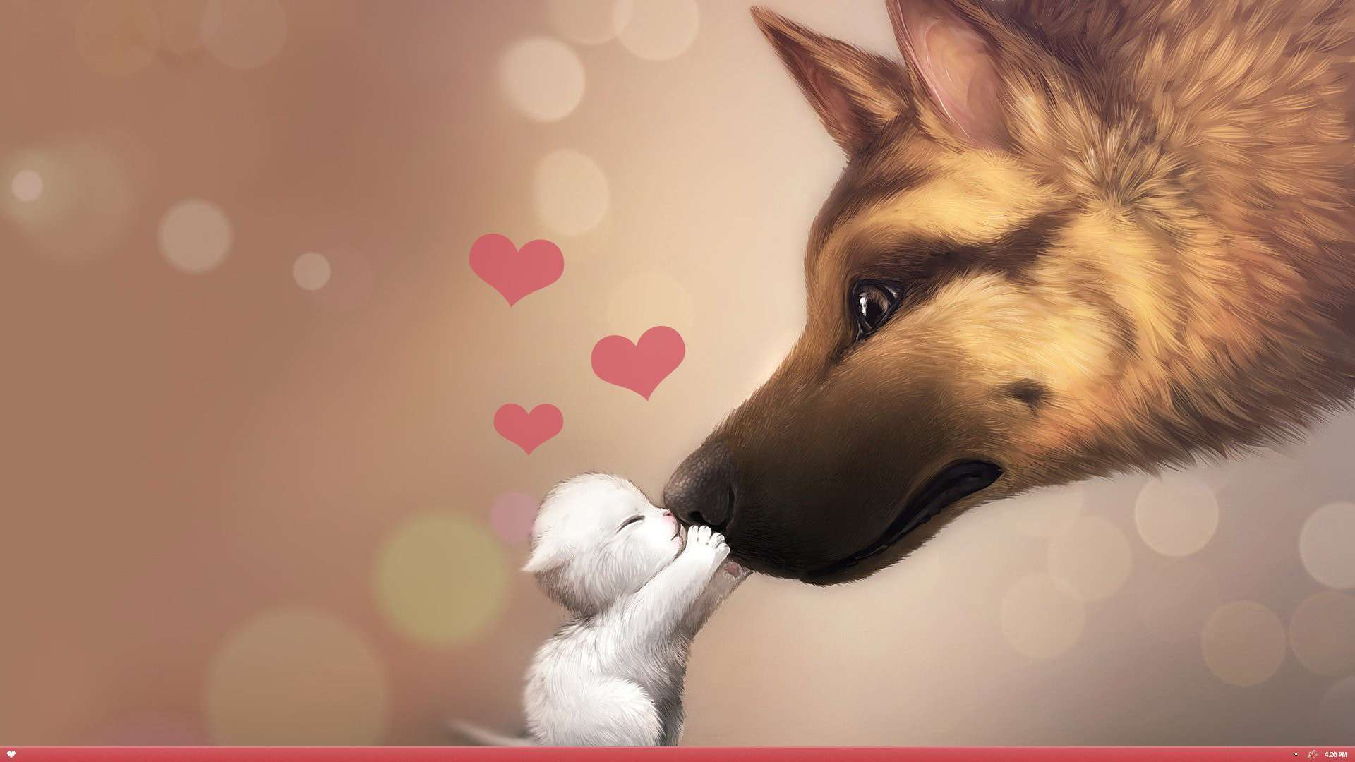 Valentine Day Wallpaper Puppy Kitten