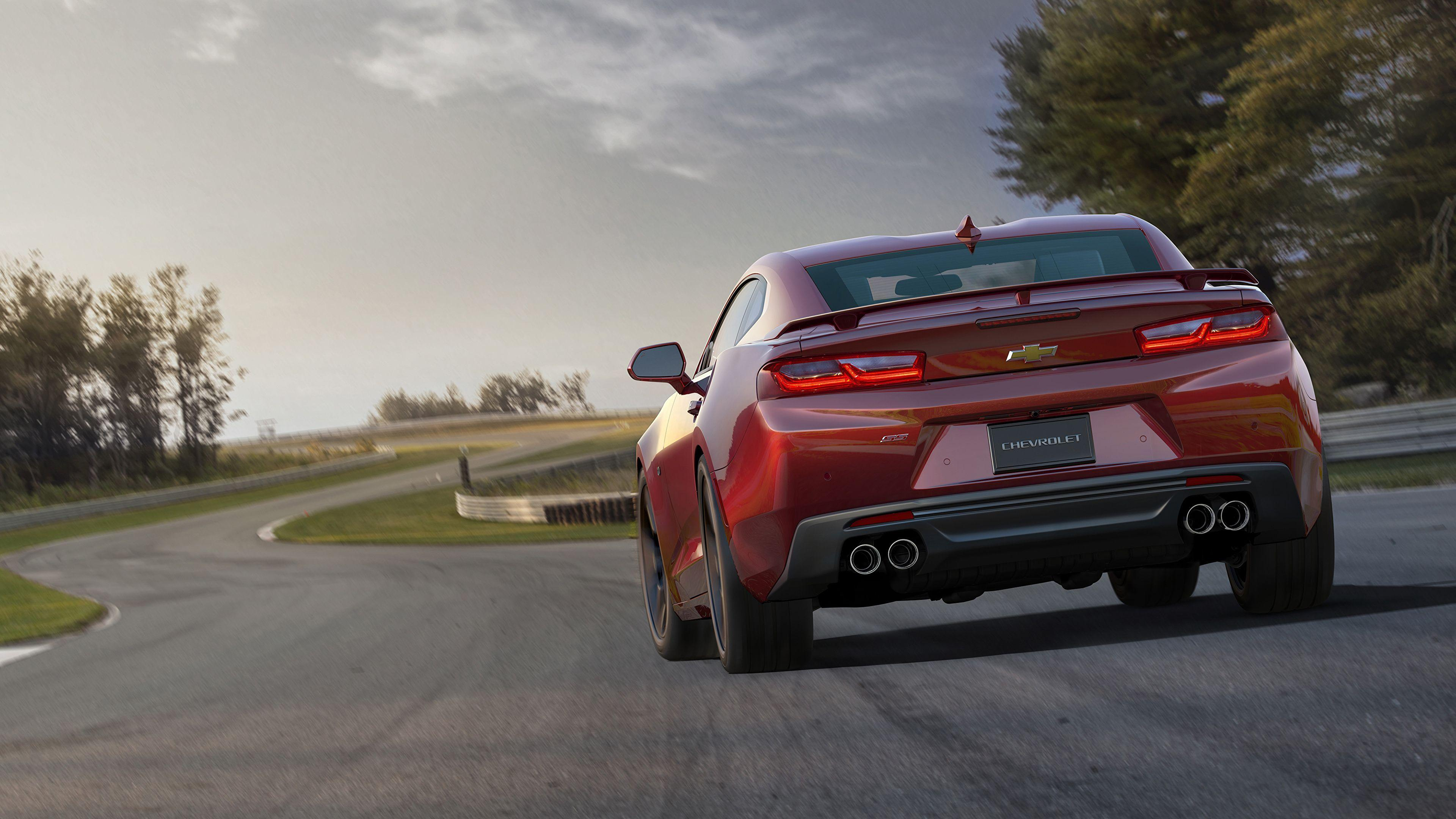 Wallpapers Chevrolet 2015 Camaro SS Red Roads Cars Back 3840x2160