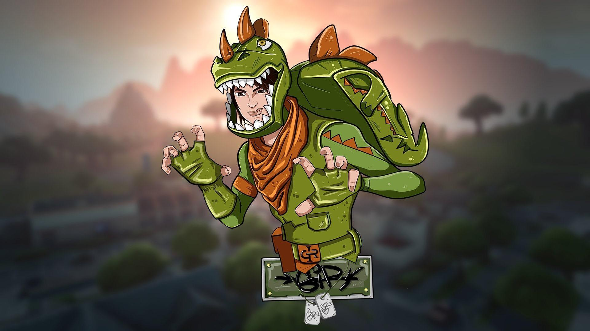Illustration of the T-Rex skin - female version : FortNiteBR