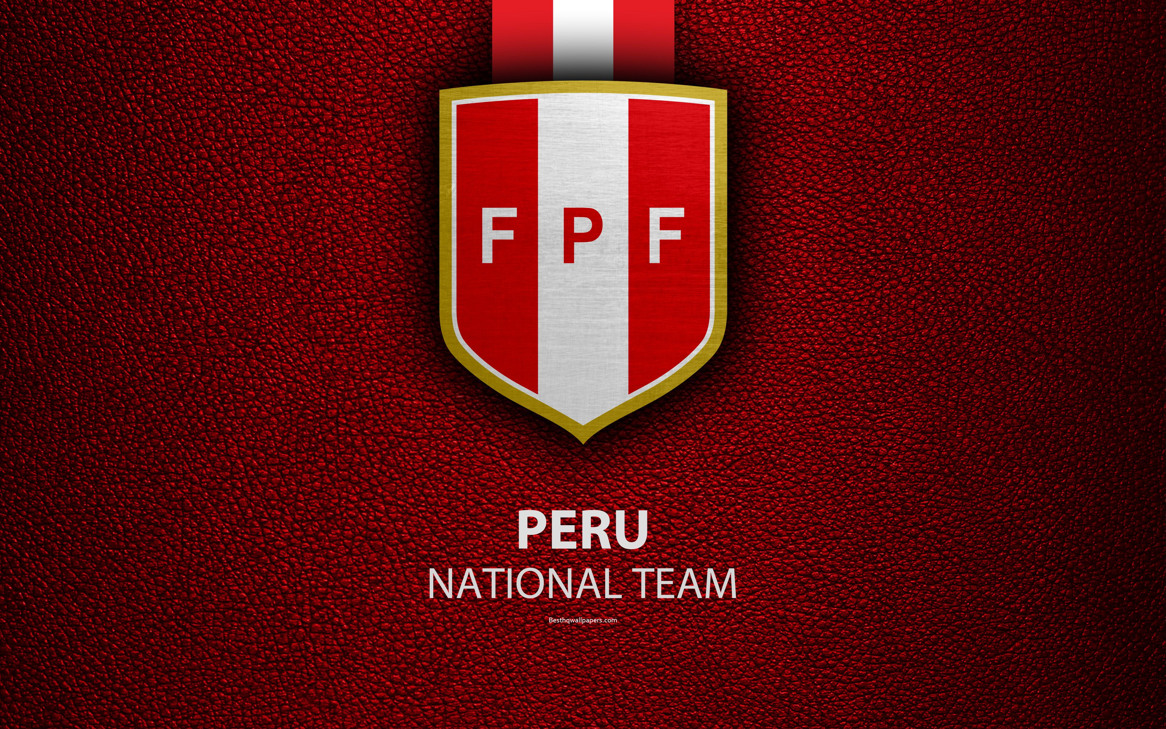 Download wallpapers Peru national football team, 4k, leather texture