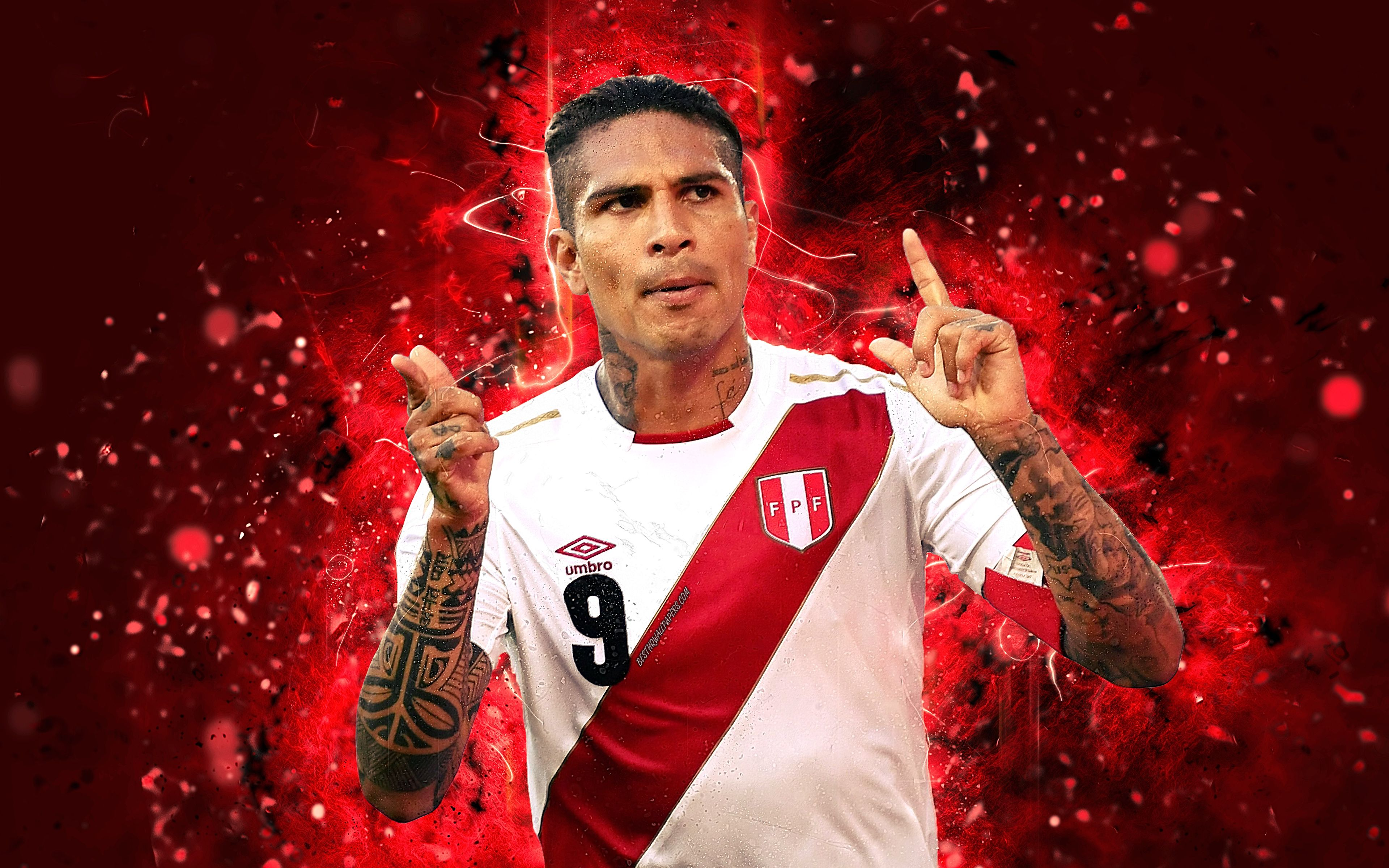 Download wallpapers Paolo Guerrero, 4k, abstract art, Peru National