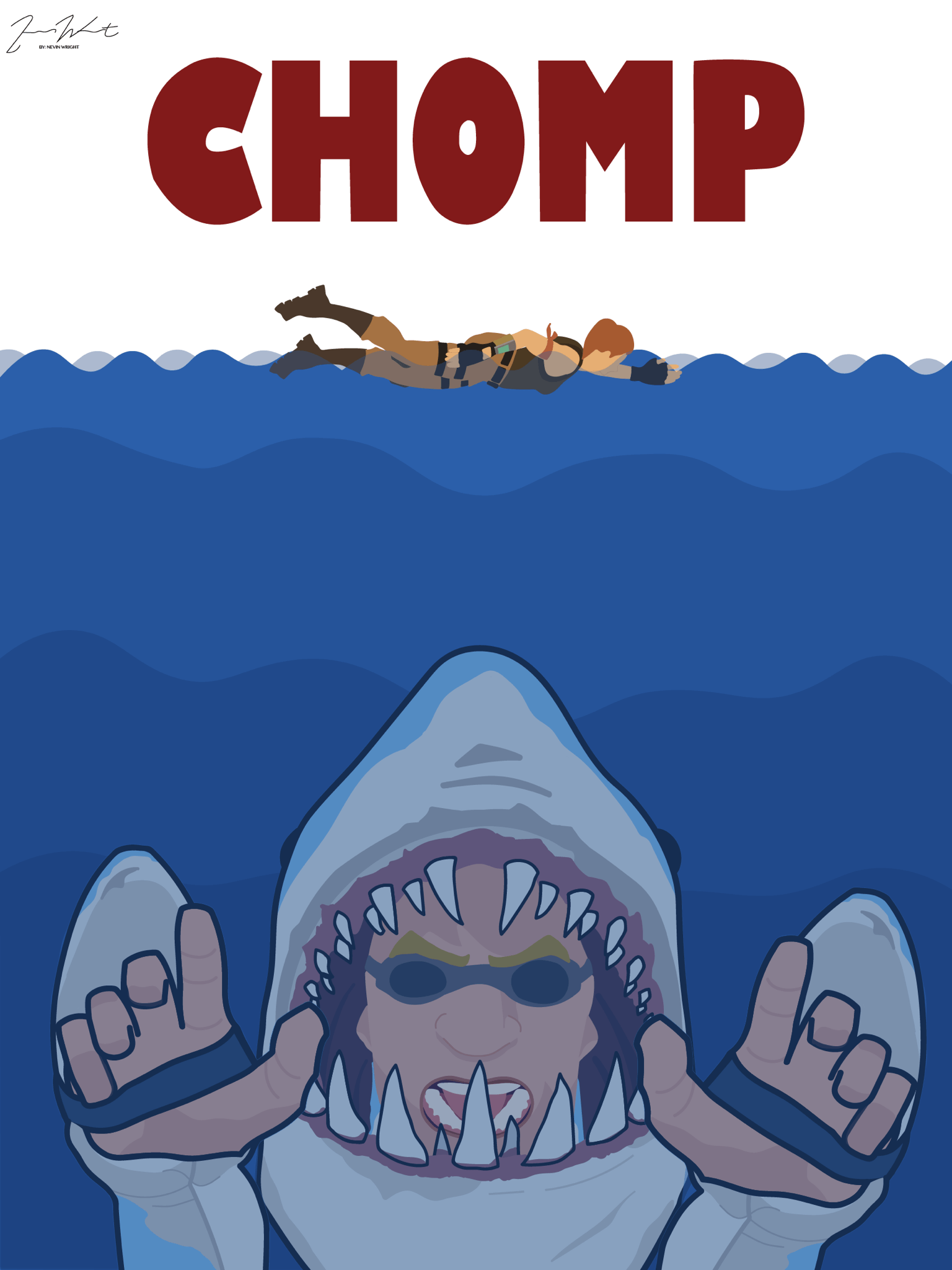 "Jaws"" themed poster I made based off a Fortnite skin called ""Chomp ..."