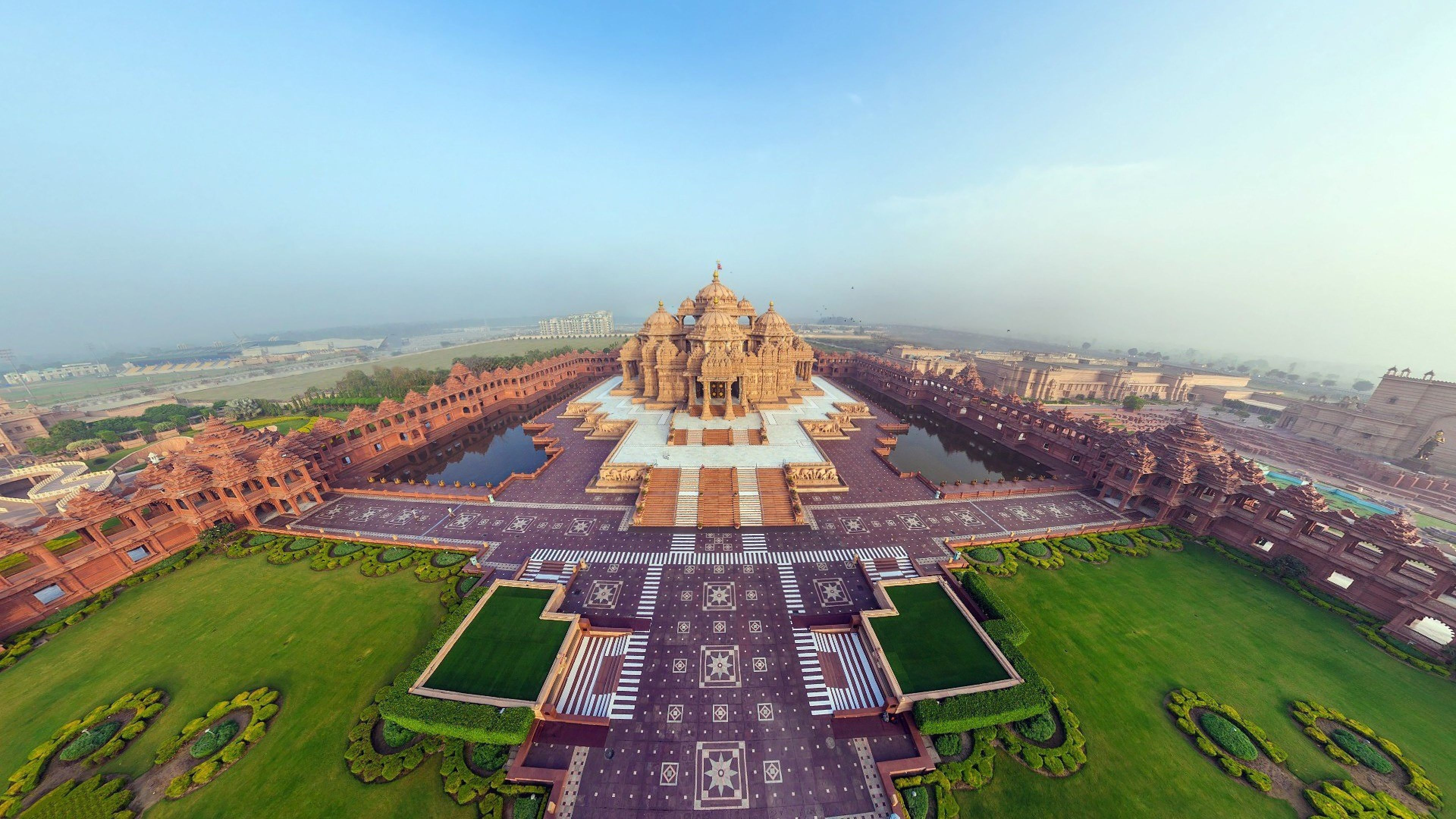 HD Backgrounds Beautiful Akshardham Temple Panorama Top View Indian