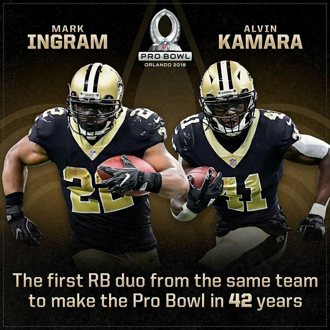 Saints Alvin Kamara & Mark Ingram. Pro Bowl 2018.