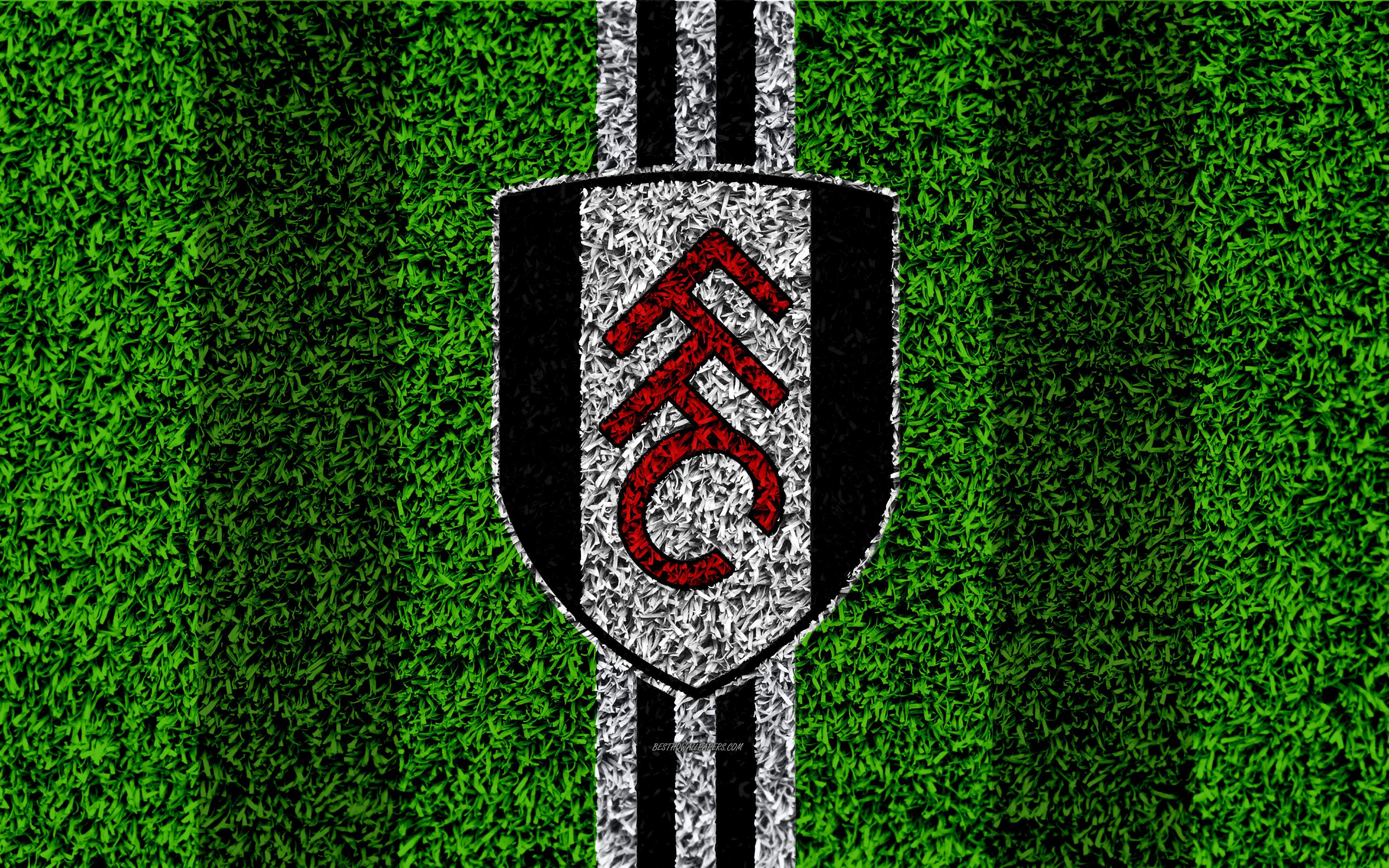 Download wallpapers Fulham FC, 4k, football lawn, logo, emblem