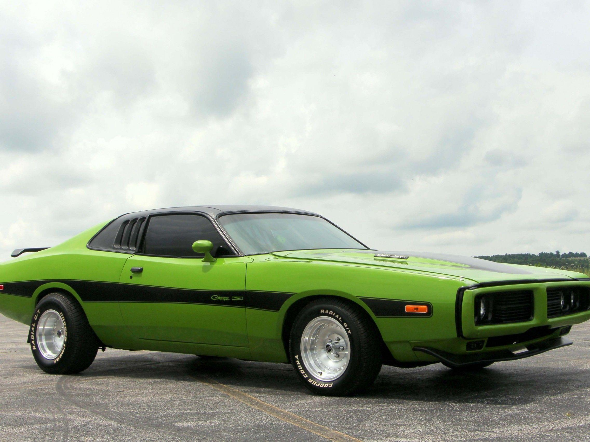 Download 2272x1704 Dodge Charger 1974, Green, Side View, Cars