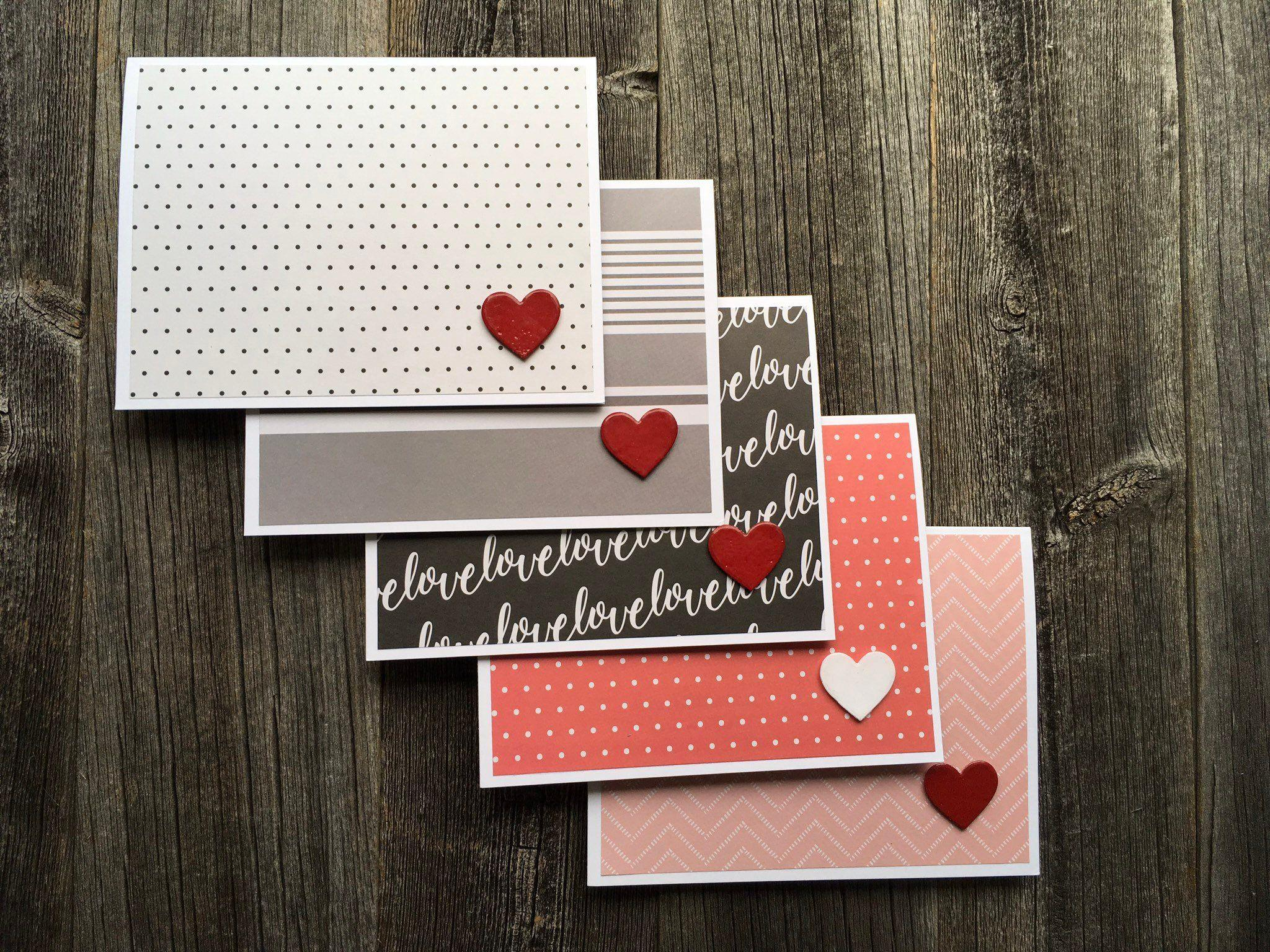 Set of 5 Minimalist Valentine's Day Cards, Handmade Cards for