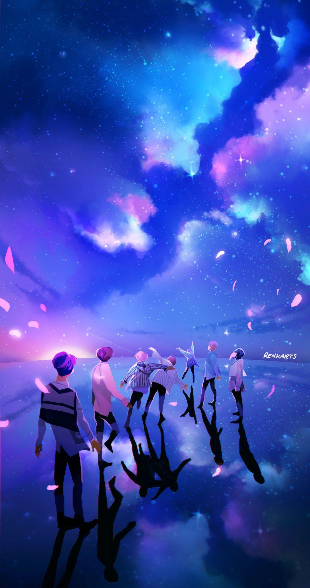 Download Wallpaper BTS Fan Art Galaxy Wallpaper for iPhone and Android New 2020