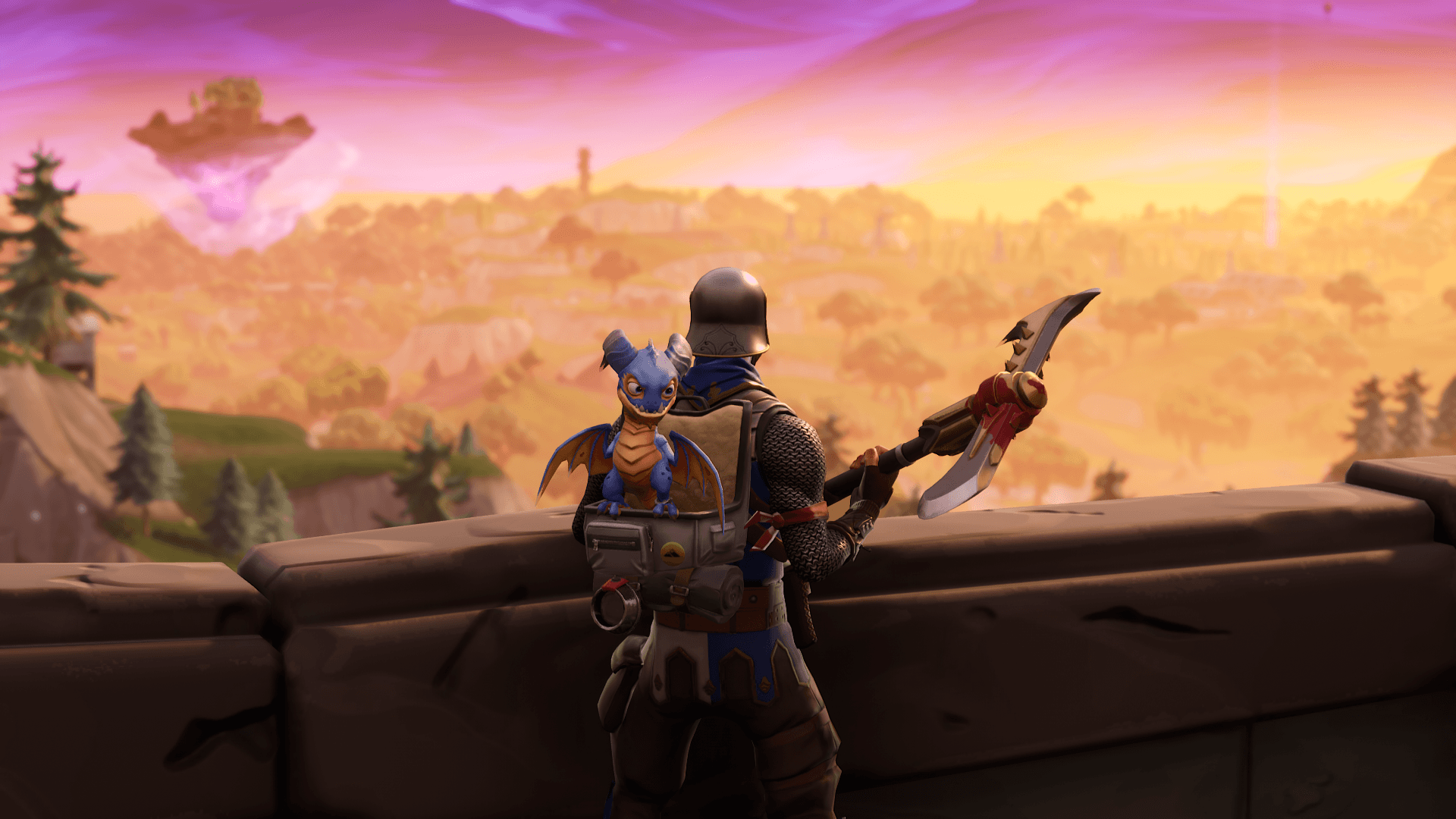 Blue squire and his trusty pet dragon : FortNiteBR