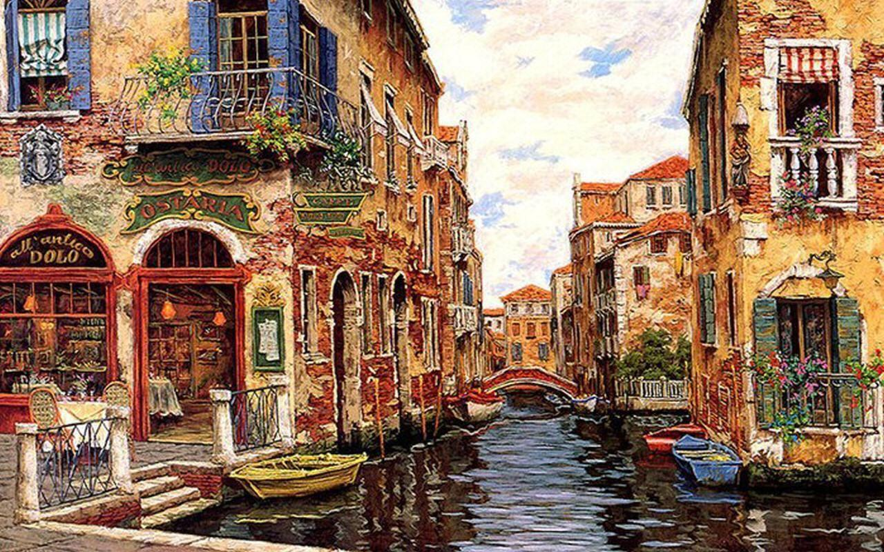 Wallpaper Tags: canal cityscape art scenery wide screen artwork ...