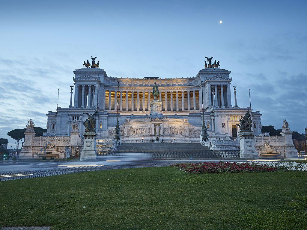 Wallpapers Rome Italy Town square Piazza Venezia Lawn 1024x768