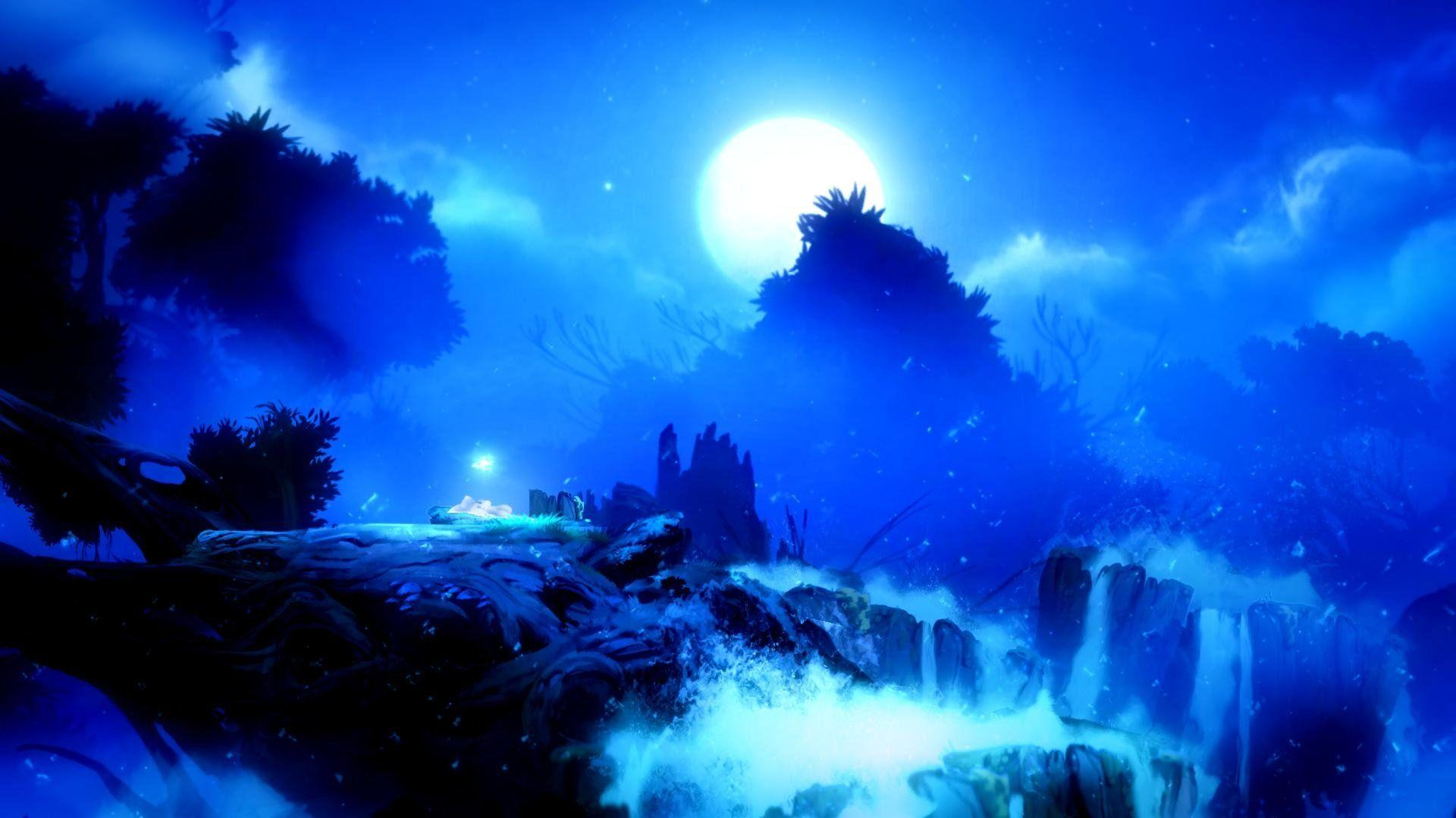 Download 1920x1080 Wallpapers Blue, Ori and The Will of The Wisps