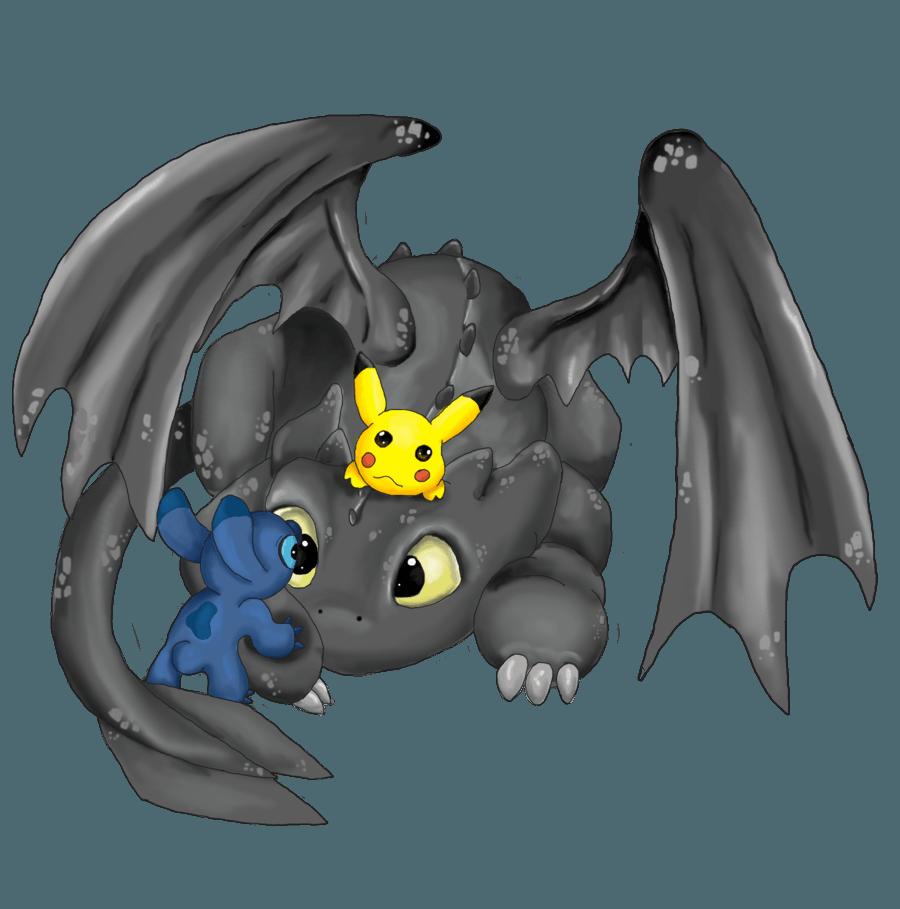 Toothless Stitch Pikachu