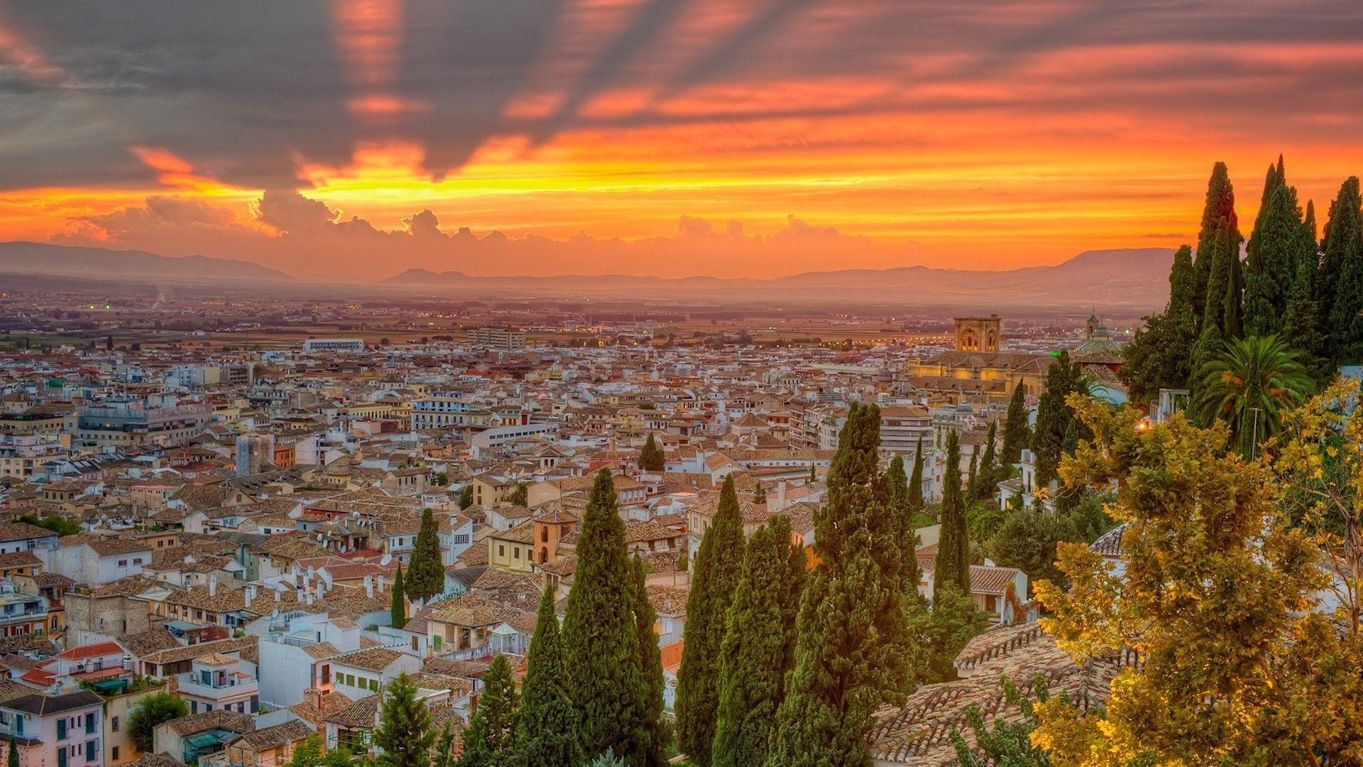 Spain cityscapes nature sunset trees wallpapers