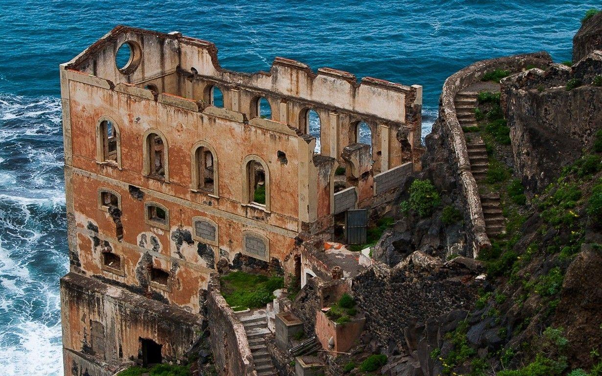landscape nature sea coast old building abandoned shrubs stairs