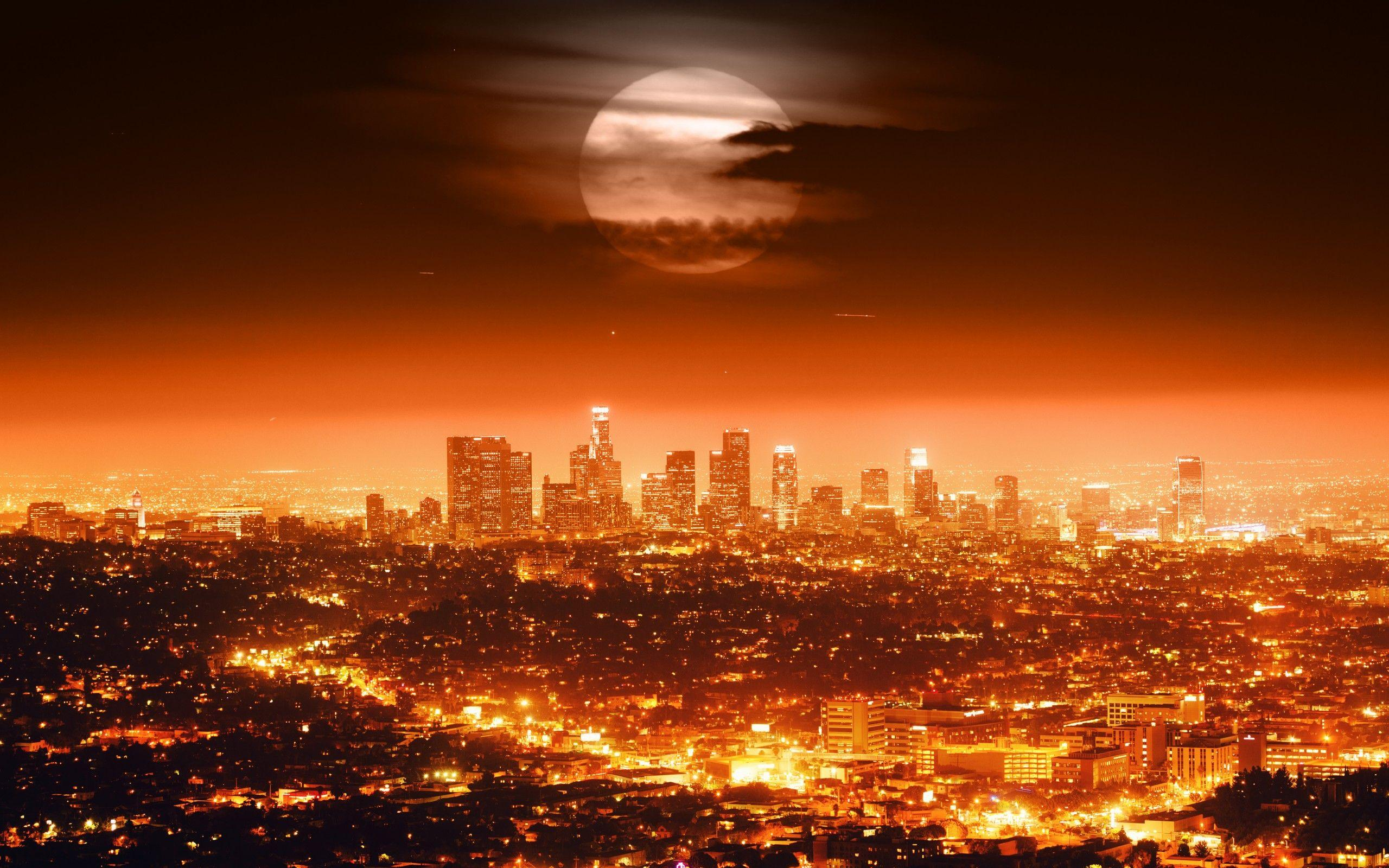 Los Angeles Skyline At Night California Wallpapers