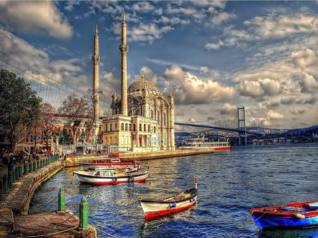 Beaches: Turkey Sea Mosque Boat Ortakoy Istanbul 8k Beach Wallpapers