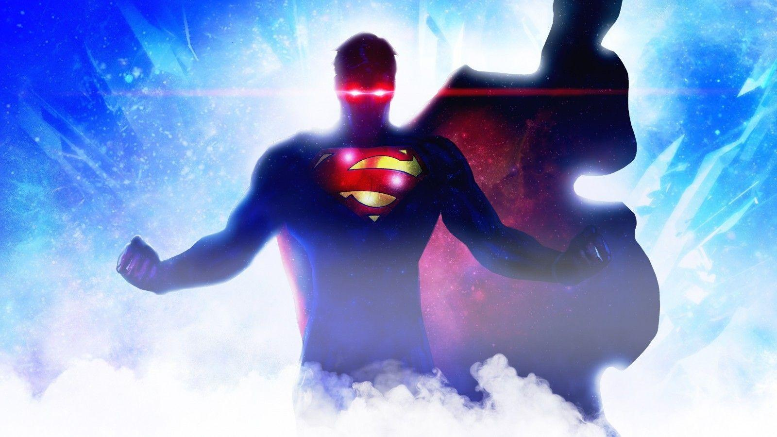 Download 1600x900 Superman, Artwork, Red Eyes, Cape Wallpapers