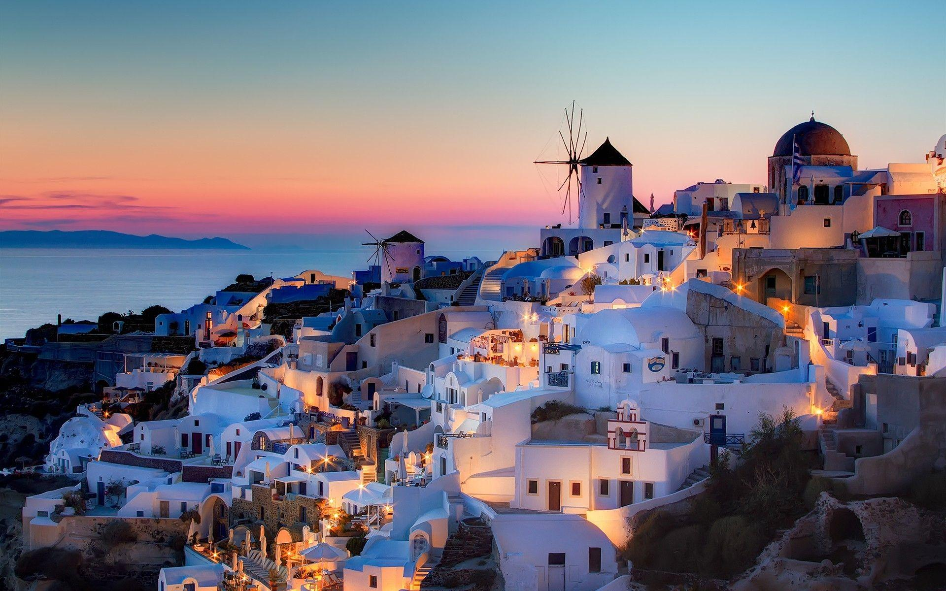 Greece Wallpapers Night HD Wallpaper, Backgrounds Image