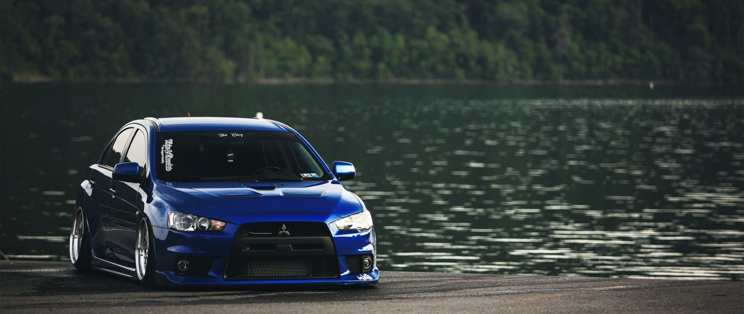 ultra wide car mitsubishi lancer evo wallpaper and background