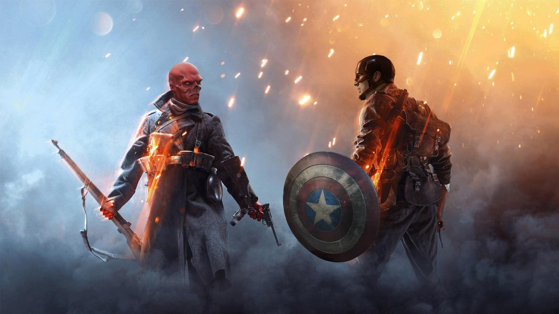 Captain America and red skull in battle field one : marvelstudios