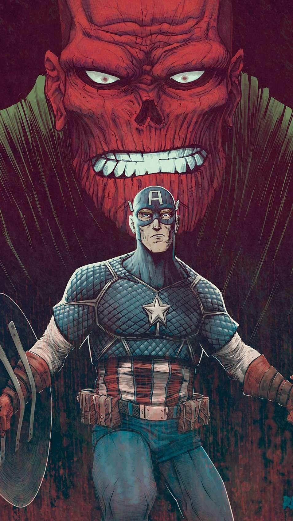 Captain America vs Red Skull iPhone Wallpapers