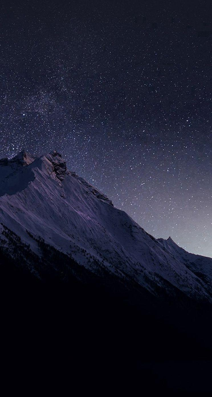4723 22: Mountain Night Snow Dark Star iPhone 5s wallpapers