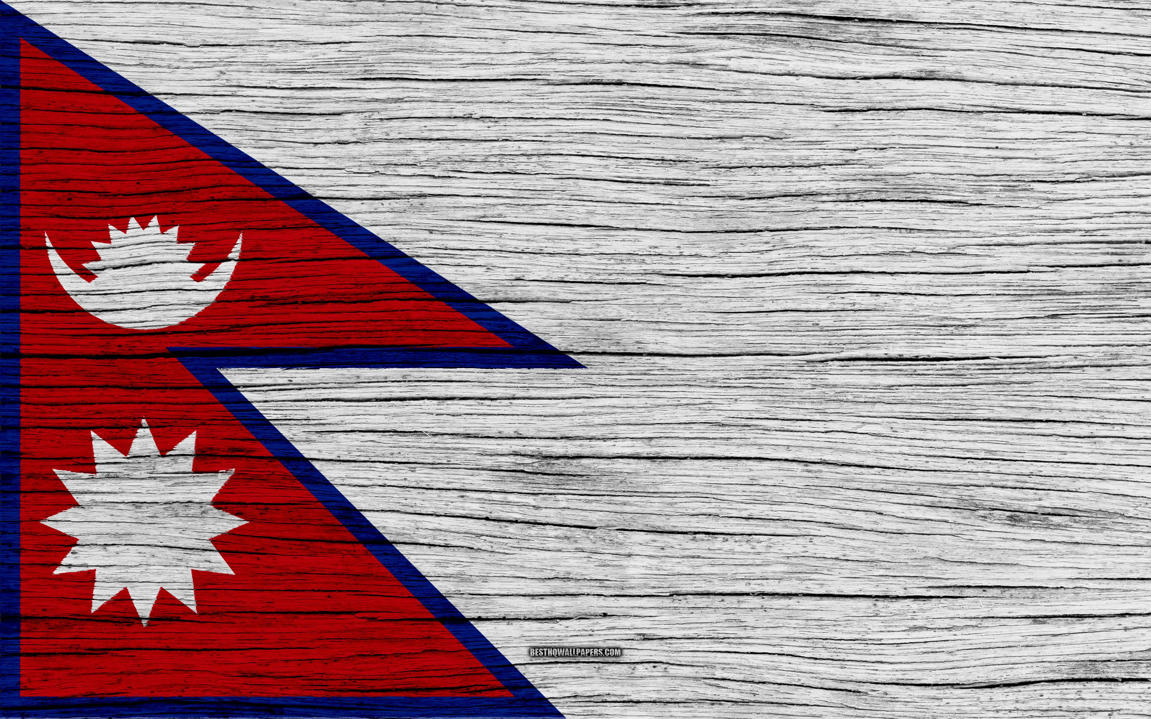 Download wallpapers Flag of Nepal, 4k, Asia, wooden texture